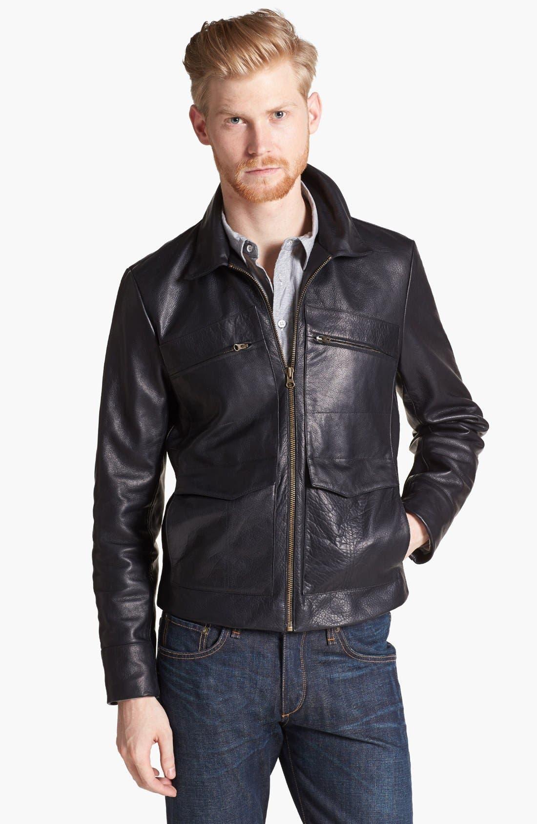 BILLY REID, Leather Flight Jacket, Main thumbnail 1, color, 001