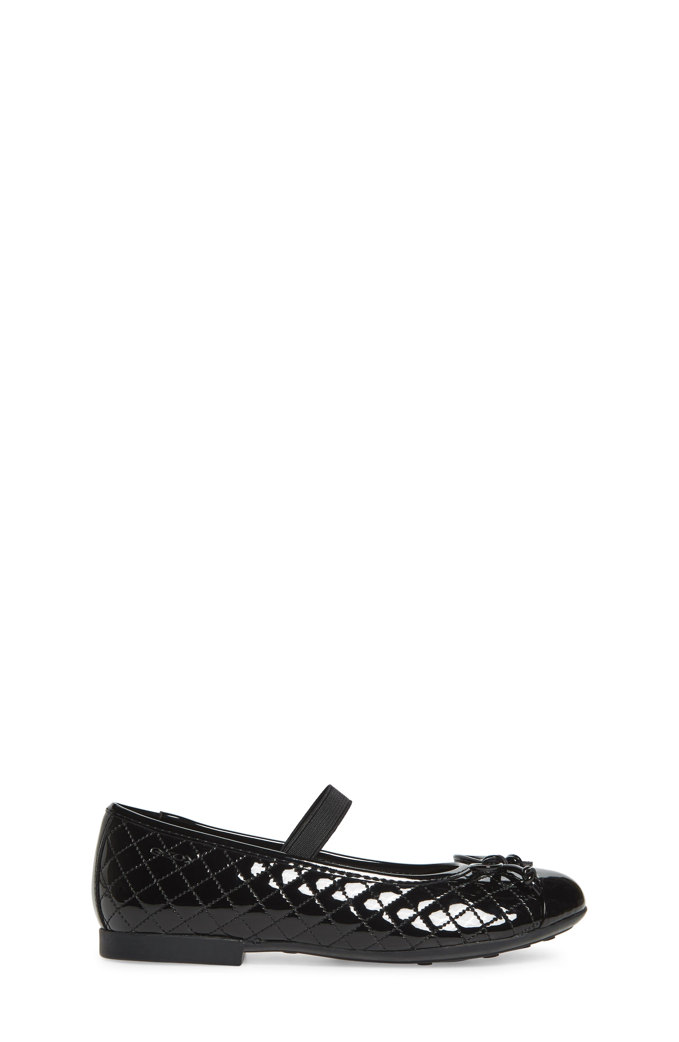 GEOX, 'Plie' Mary Jane Flat, Alternate thumbnail 3, color, BLACK/ BLACK