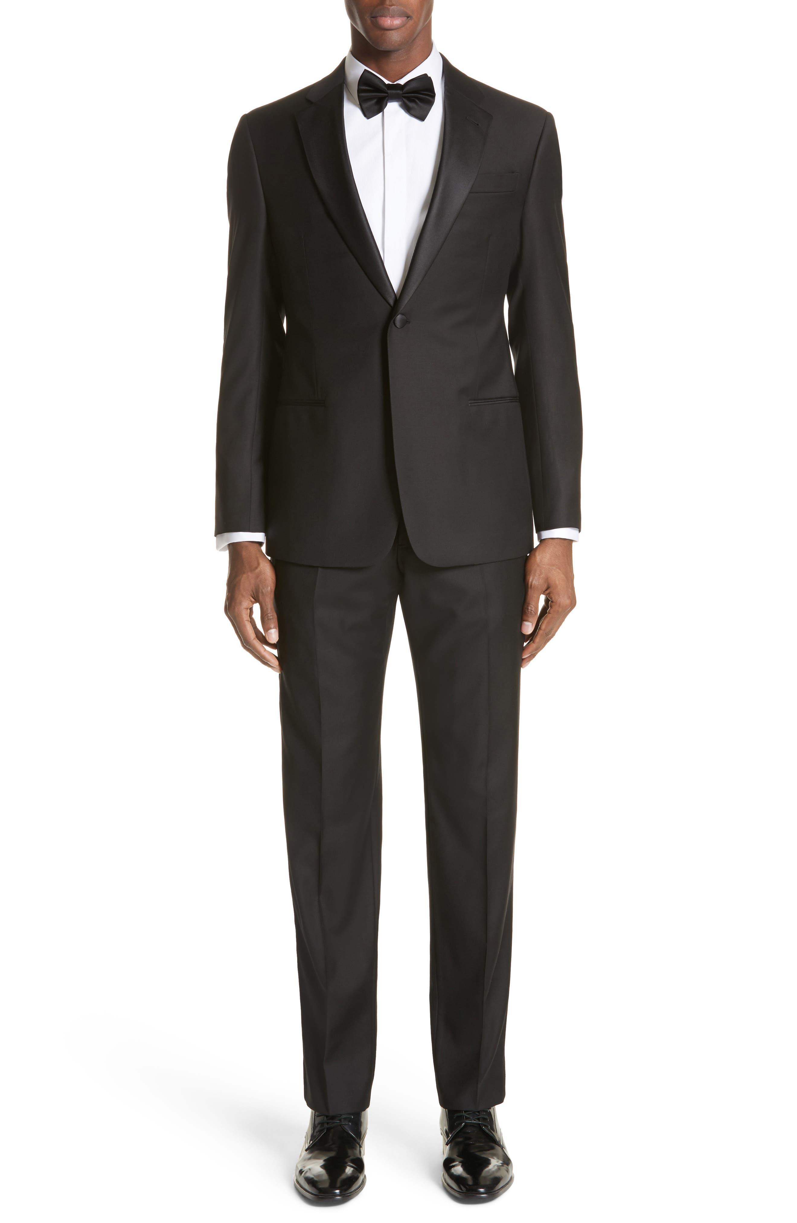 EMPORIO ARMANI, Trim Fit Wool Tuxedo, Main thumbnail 1, color, BLACK