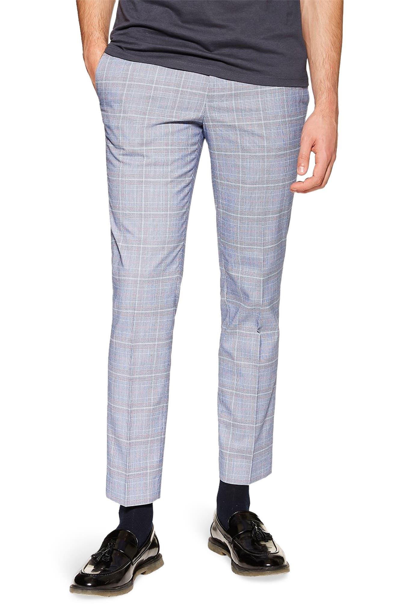 TOPMAN, Skinny Fit Plaid Trousers, Main thumbnail 1, color, BLUE MULTI