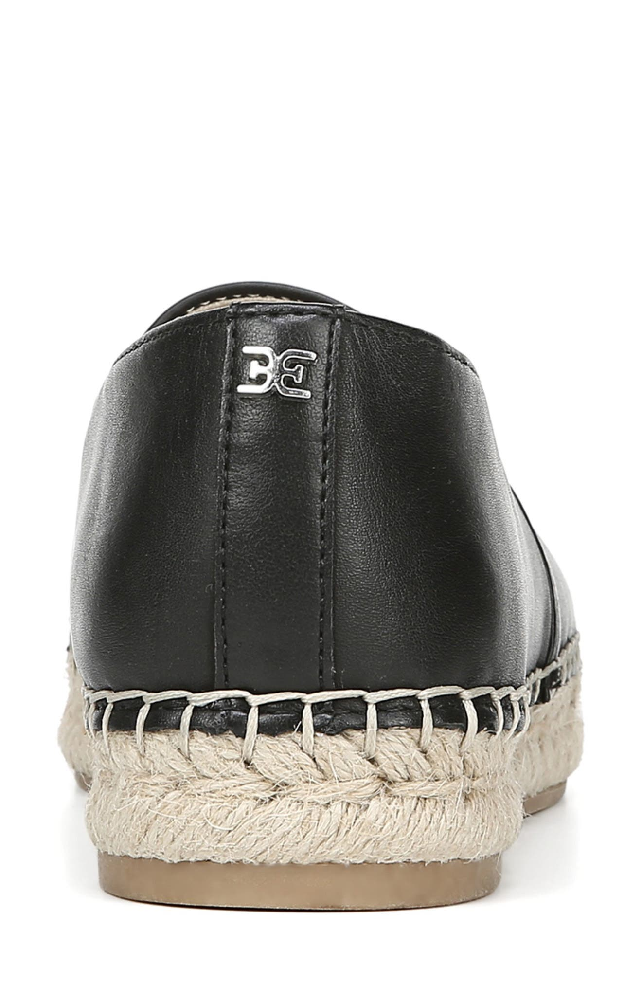 SAM EDELMAN, Krissy Espadrille Flat, Alternate thumbnail 7, color, BLACK LEATHER