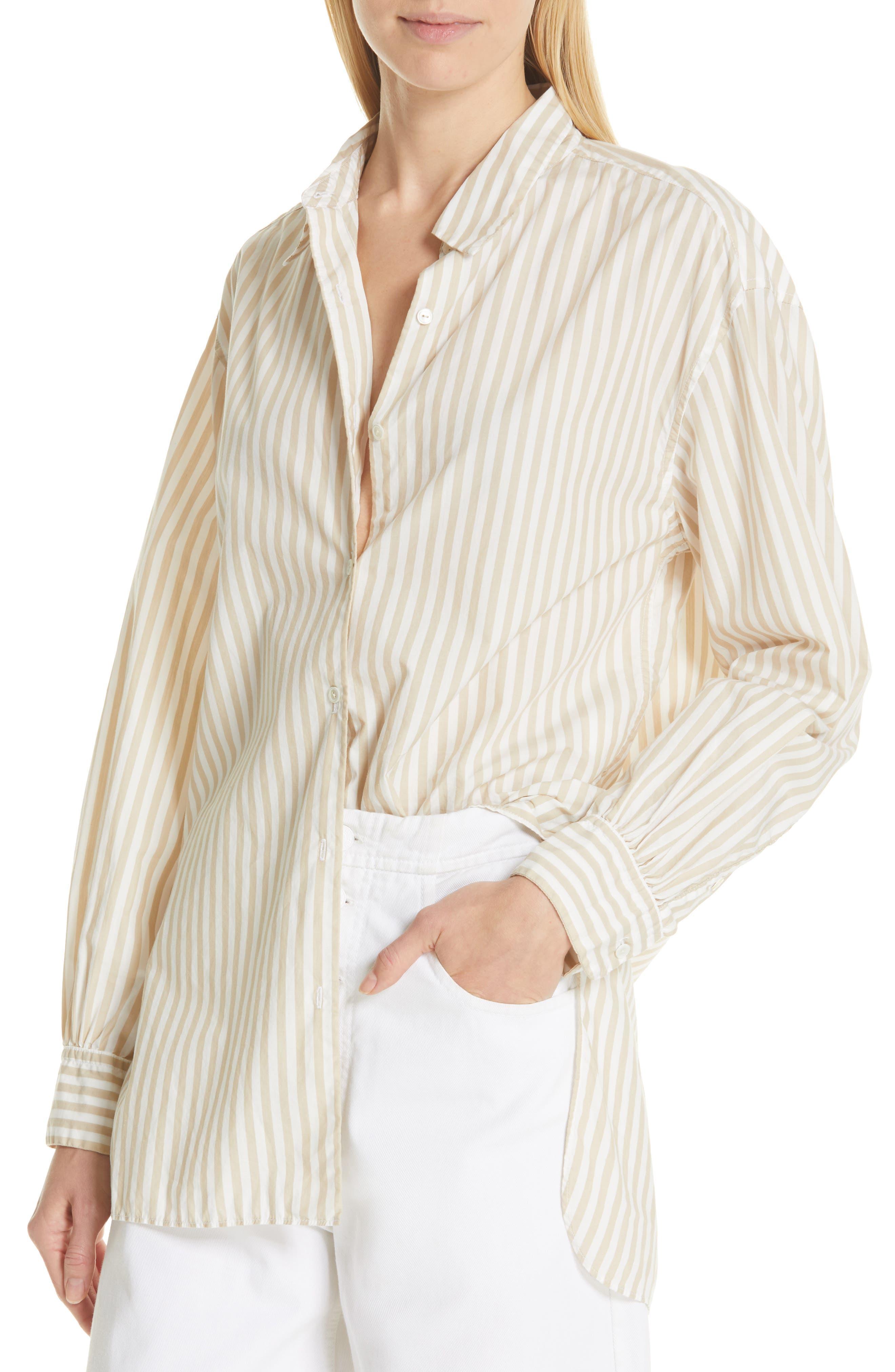NILI LOTAN, Noa Stripe Shirt, Alternate thumbnail 4, color, TAN STRIPE