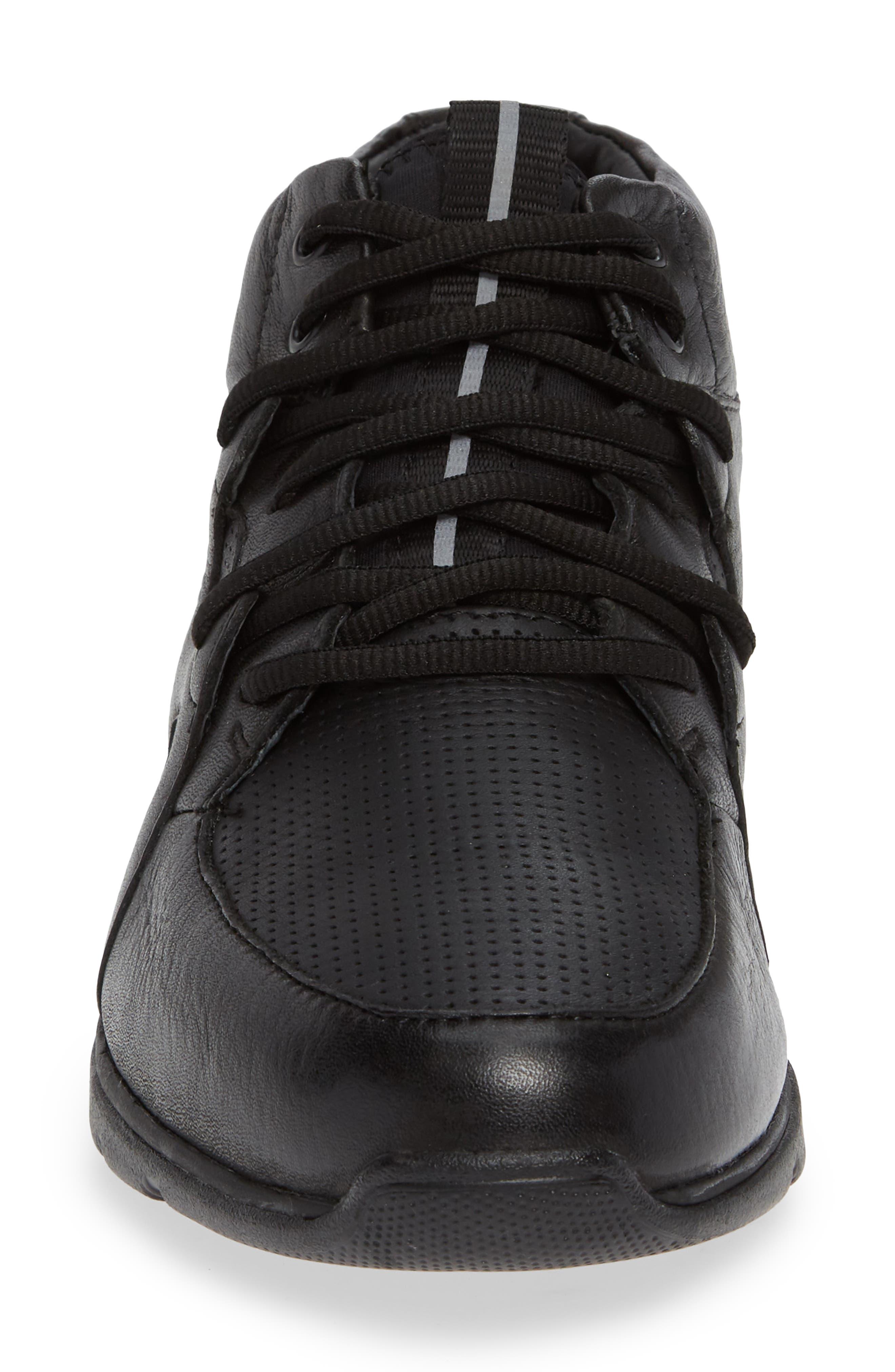 JOHNSTON & MURPHY, Prentiss Waterproof Sneaker, Alternate thumbnail 4, color, BLACK LEATHER
