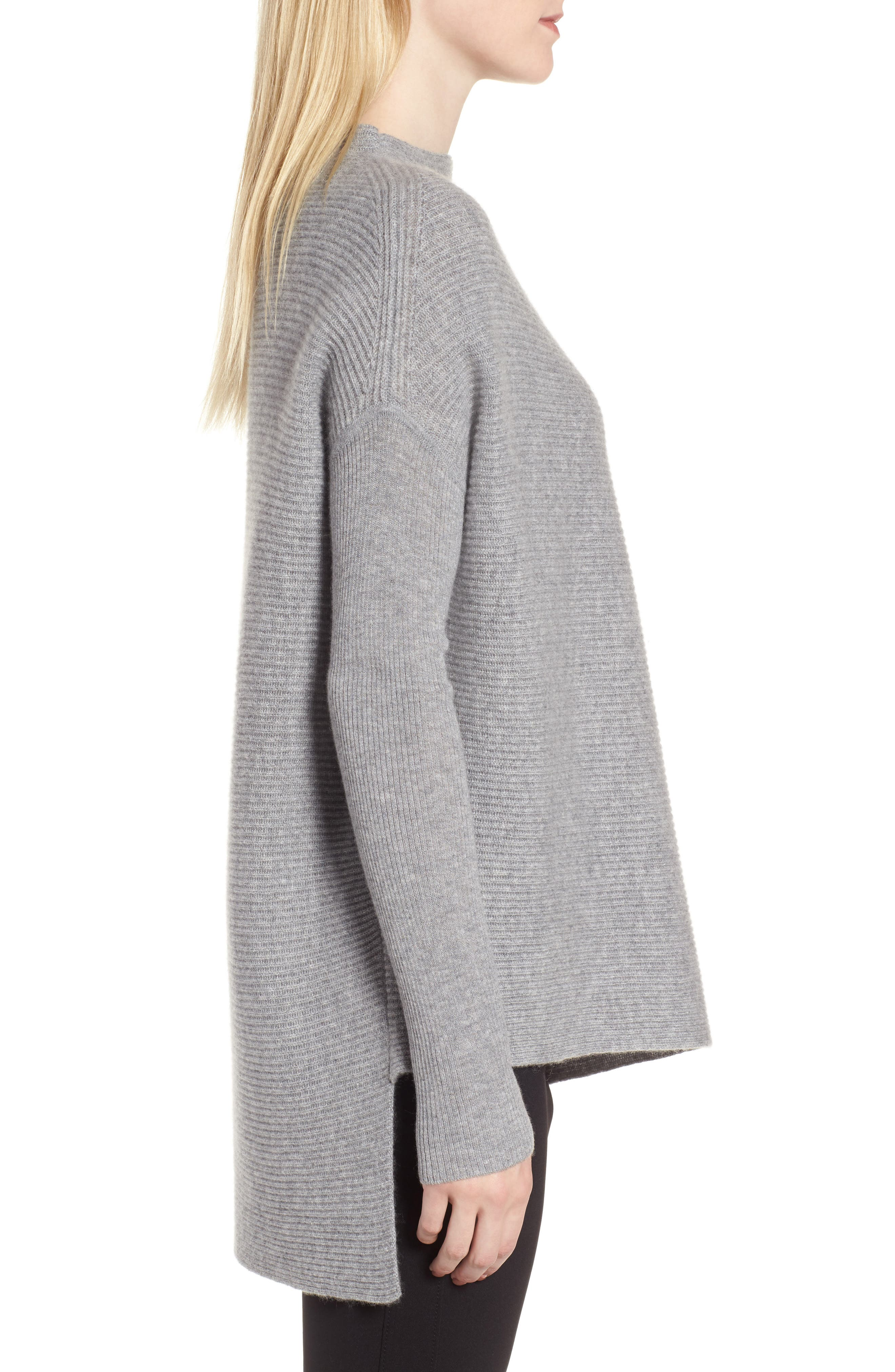 NORDSTROM SIGNATURE, Cashmere Asymmetrical Pullover, Alternate thumbnail 3, color, GREY FILIGREE HEATHER