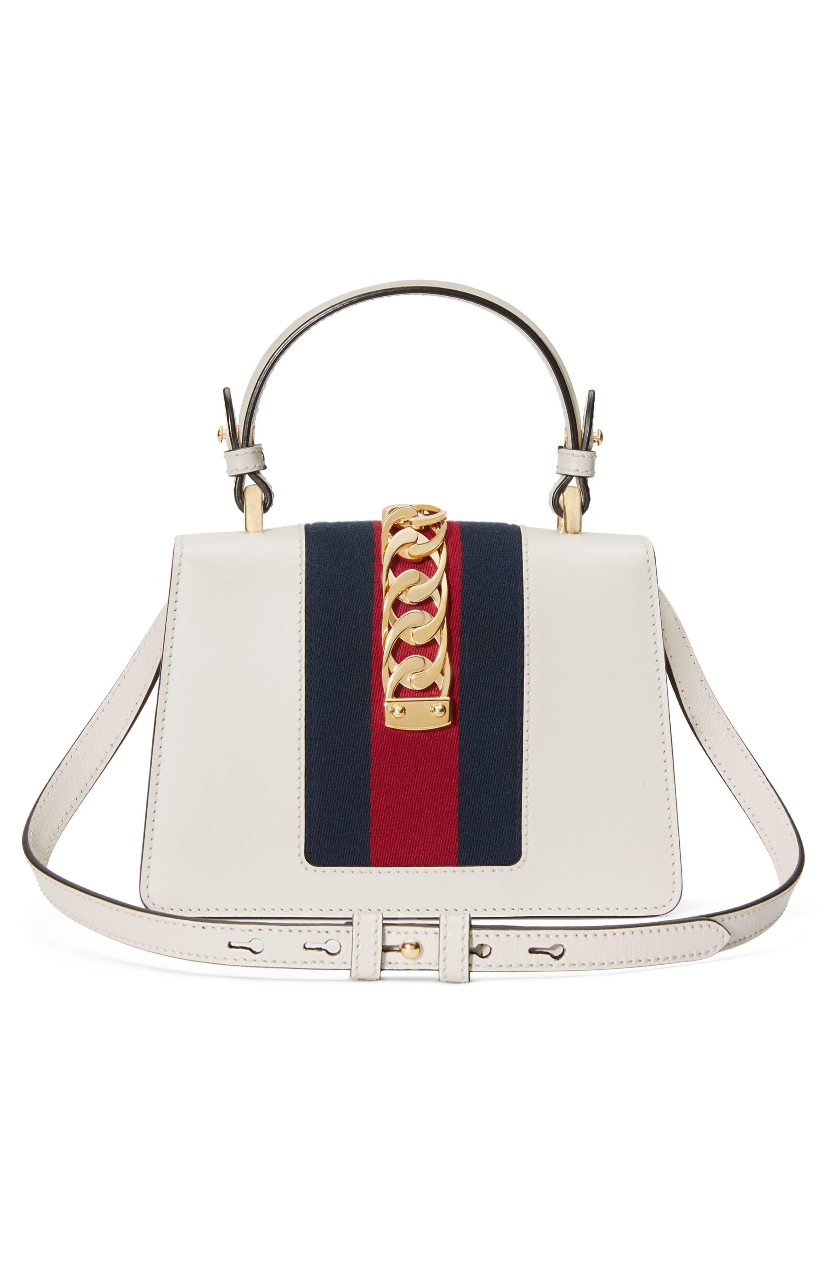 GUCCI, Mini Sylvie Top Handle Leather Shoulder Bag, Alternate thumbnail 2, color, MYSTIC WHITE