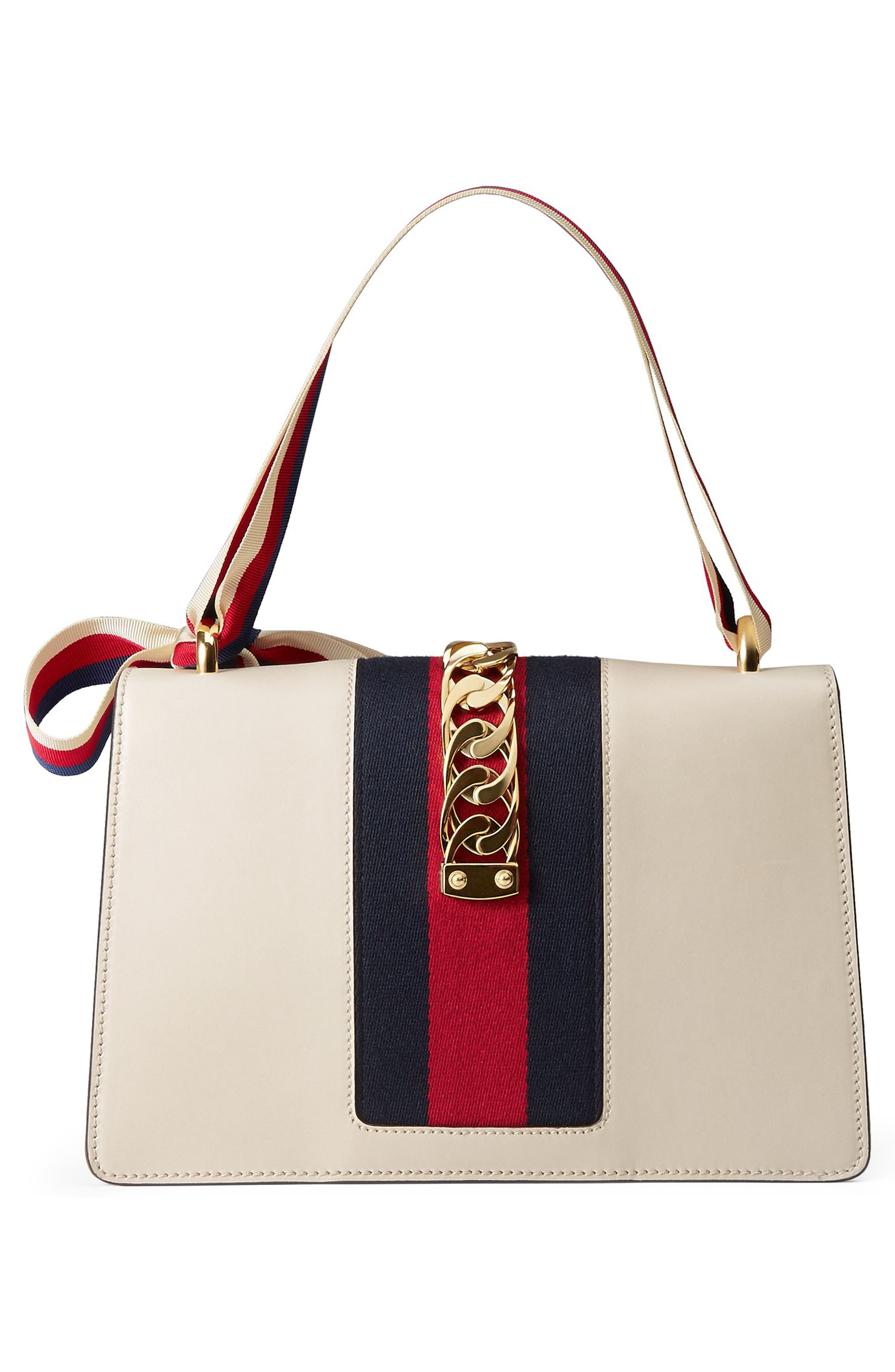 GUCCI, Small Sylvie Leather Shoulder Bag, Alternate thumbnail 2, color, WHITE