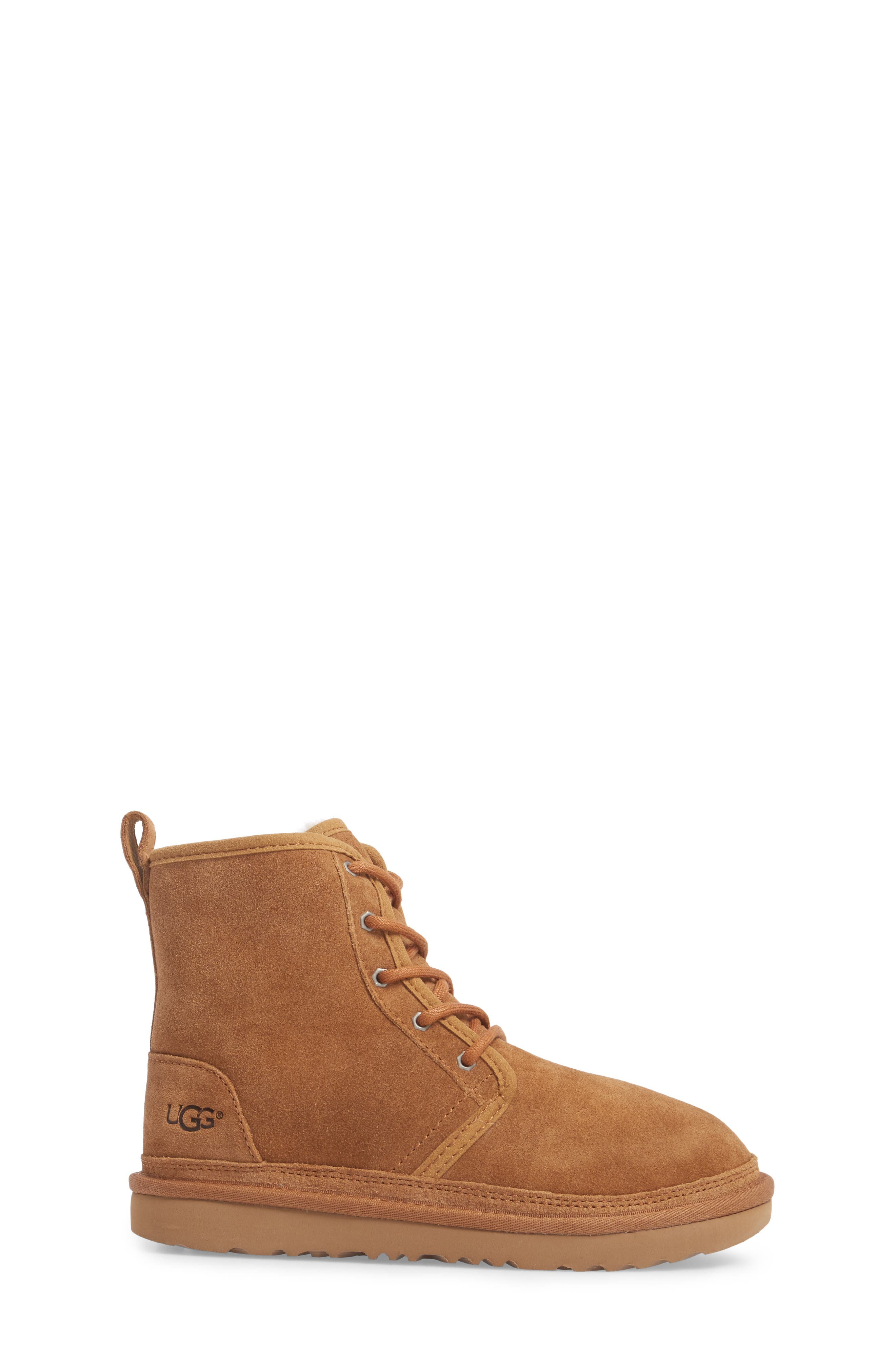 UGG<SUP>®</SUP>, Harkley Lace-Up Boot, Alternate thumbnail 3, color, CHESTNUT