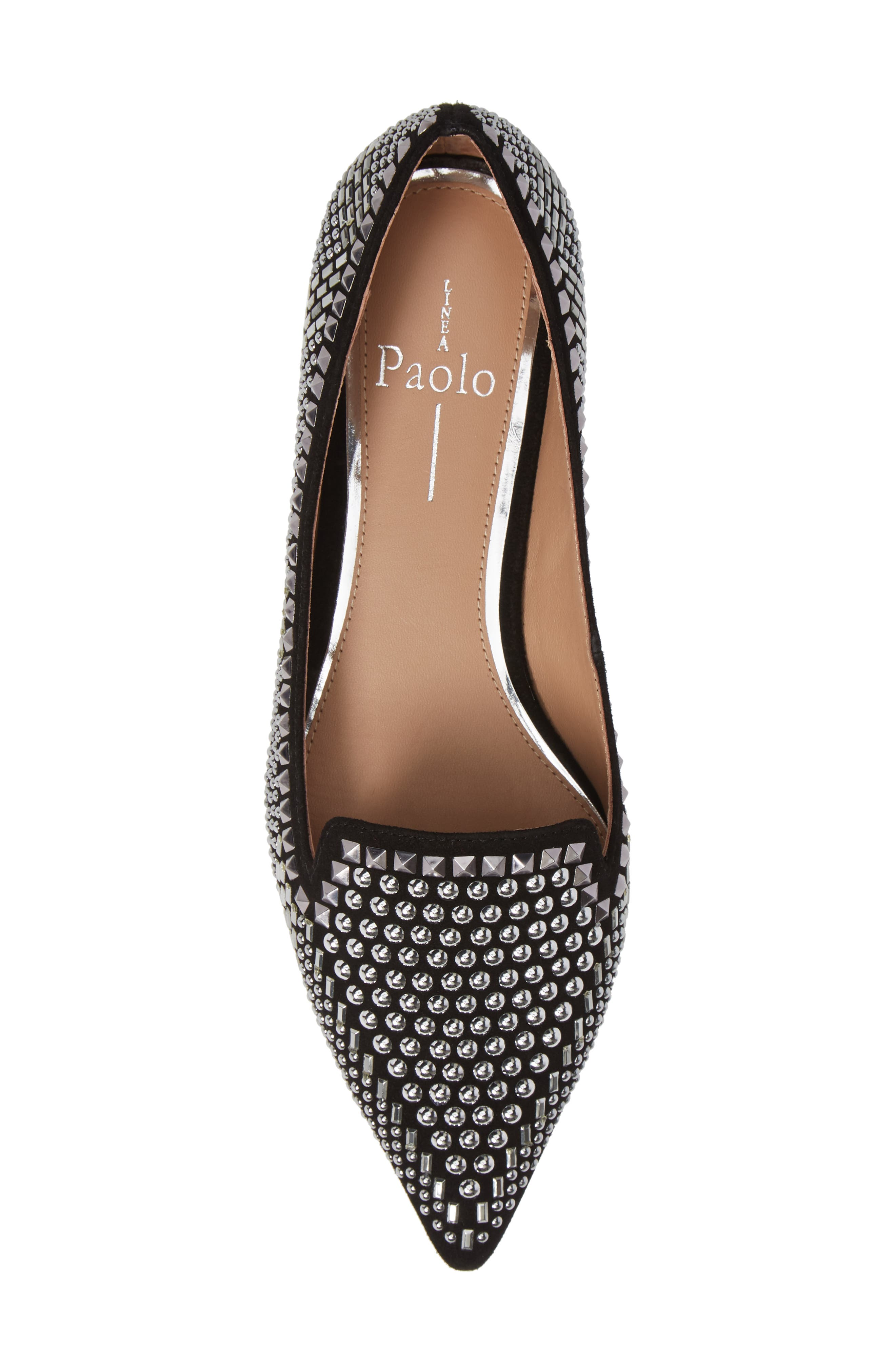 LINEA PAOLO, Portia Studded Loafer, Alternate thumbnail 5, color, BLACK SUEDE