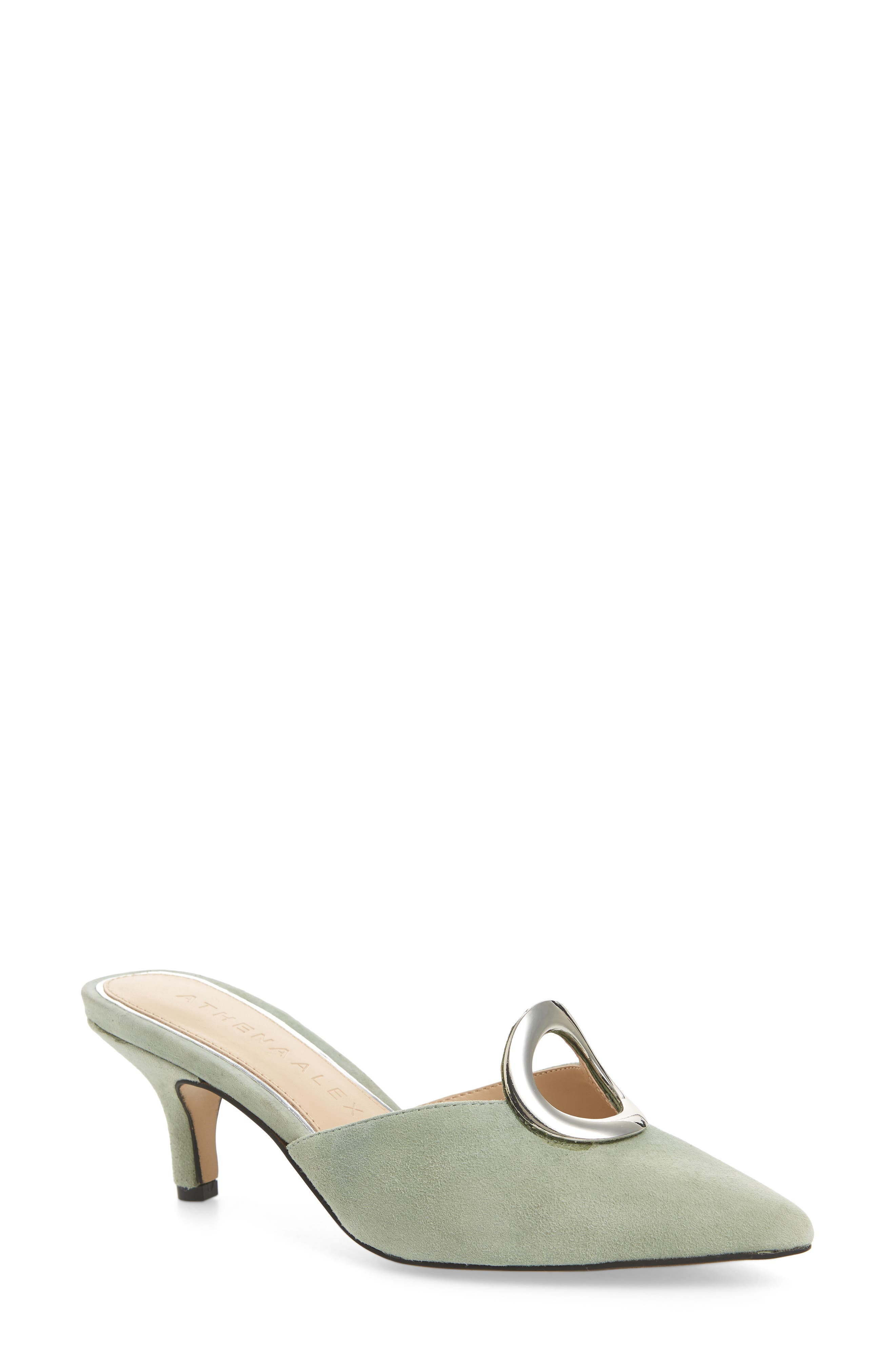 ATHENA ALEXANDER, Pointy Toe Mule, Main thumbnail 1, color, GREEN SUEDE