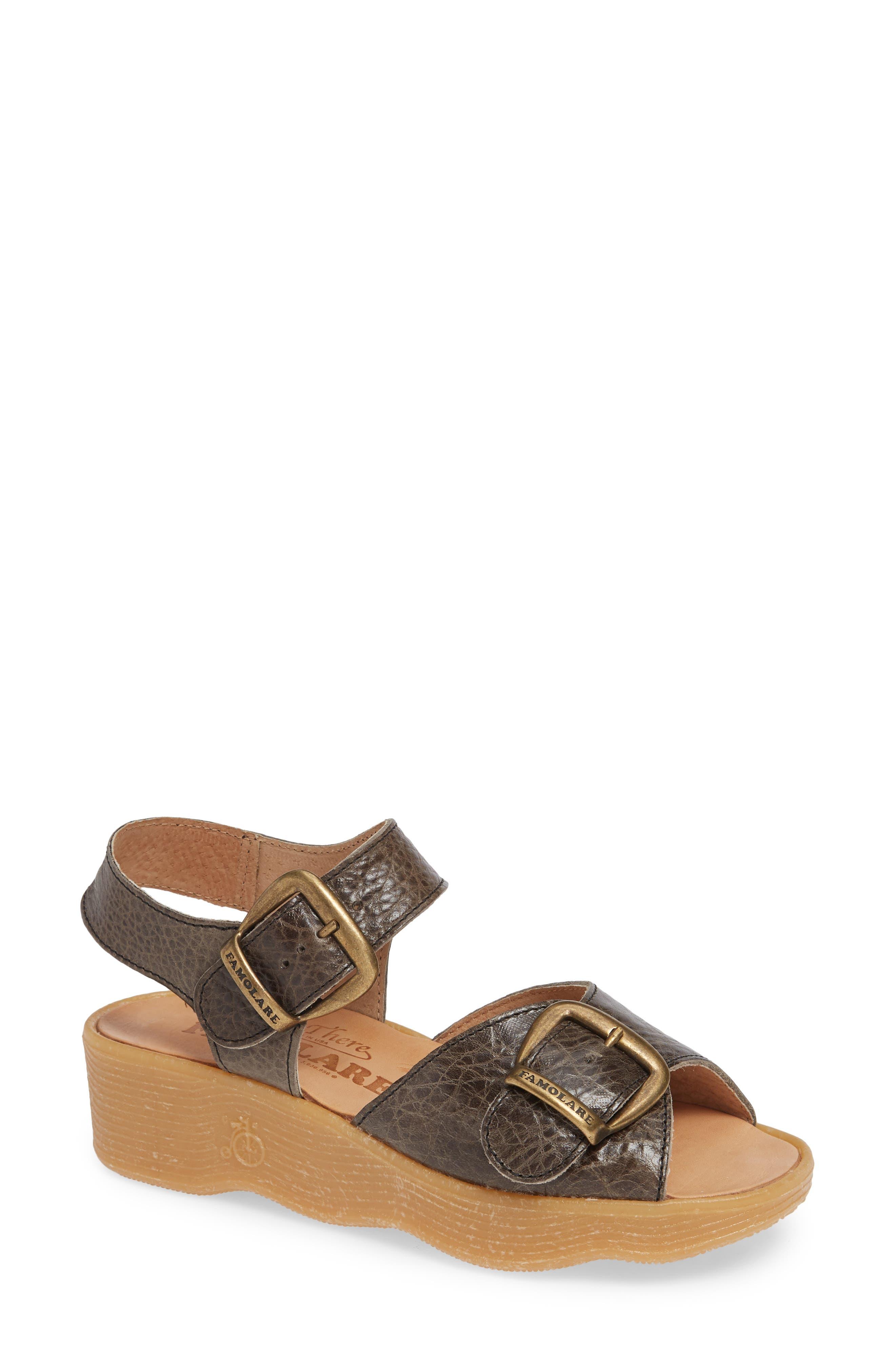 FAMOLARE, Double Play Platform Sandal, Main thumbnail 1, color, STEEL SUEDE