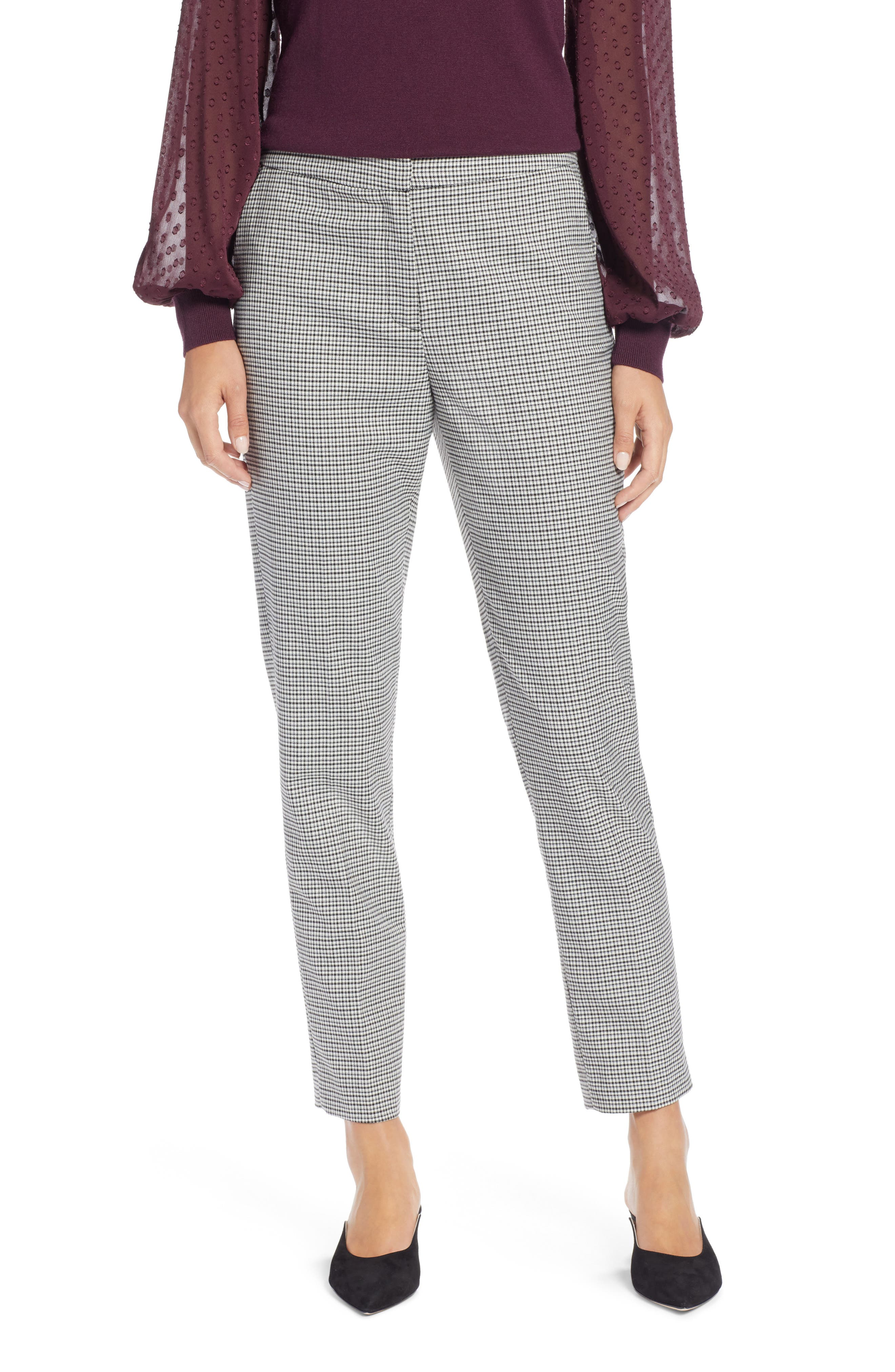 HALOGEN<SUP>®</SUP>, Plaid Ankle Skinny Pants, Main thumbnail 1, color, 001