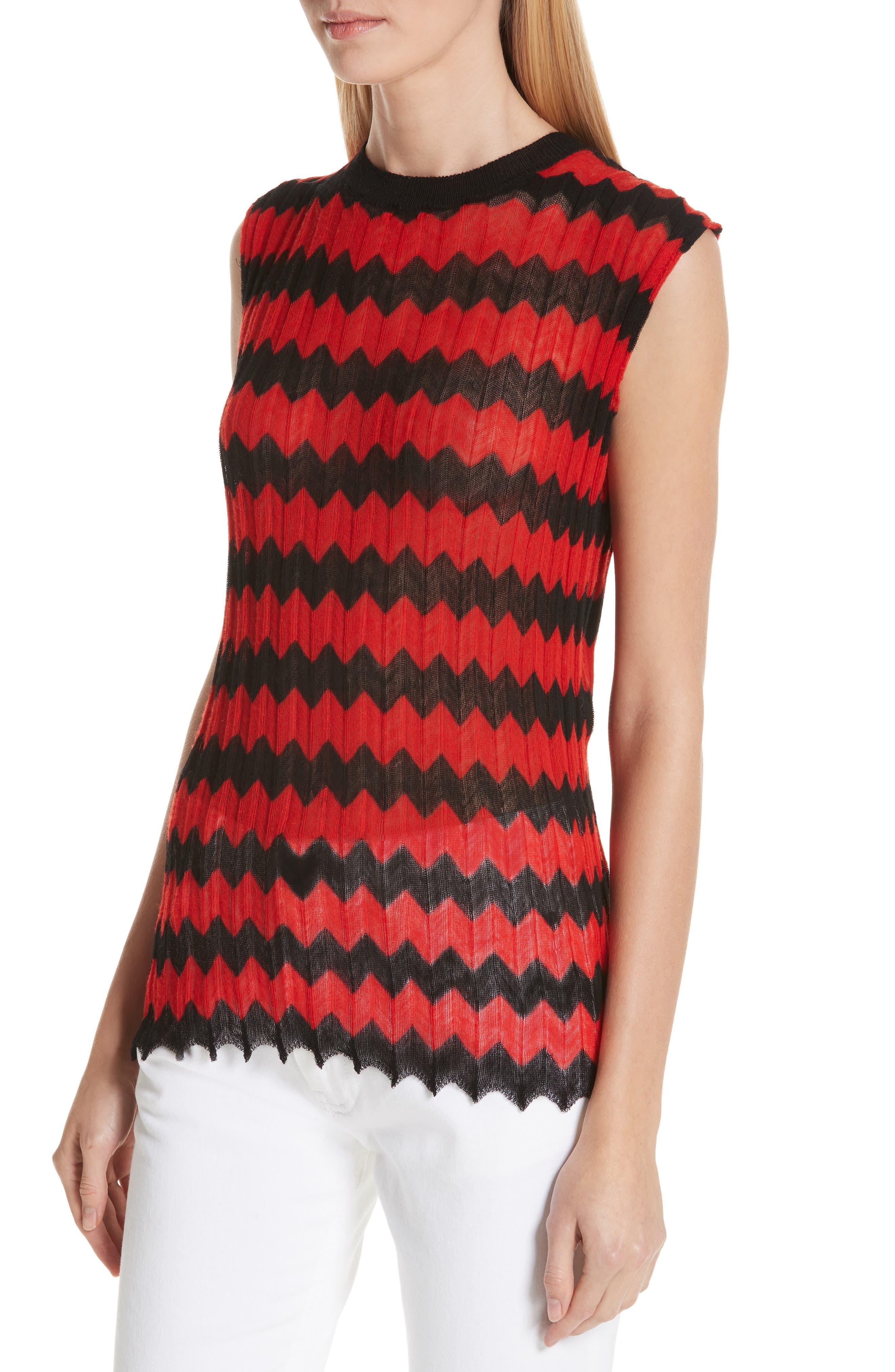CALVIN KLEIN 205W39NYC, Chevron Stripe Wool Tank Top, Alternate thumbnail 4, color, RED BLACK