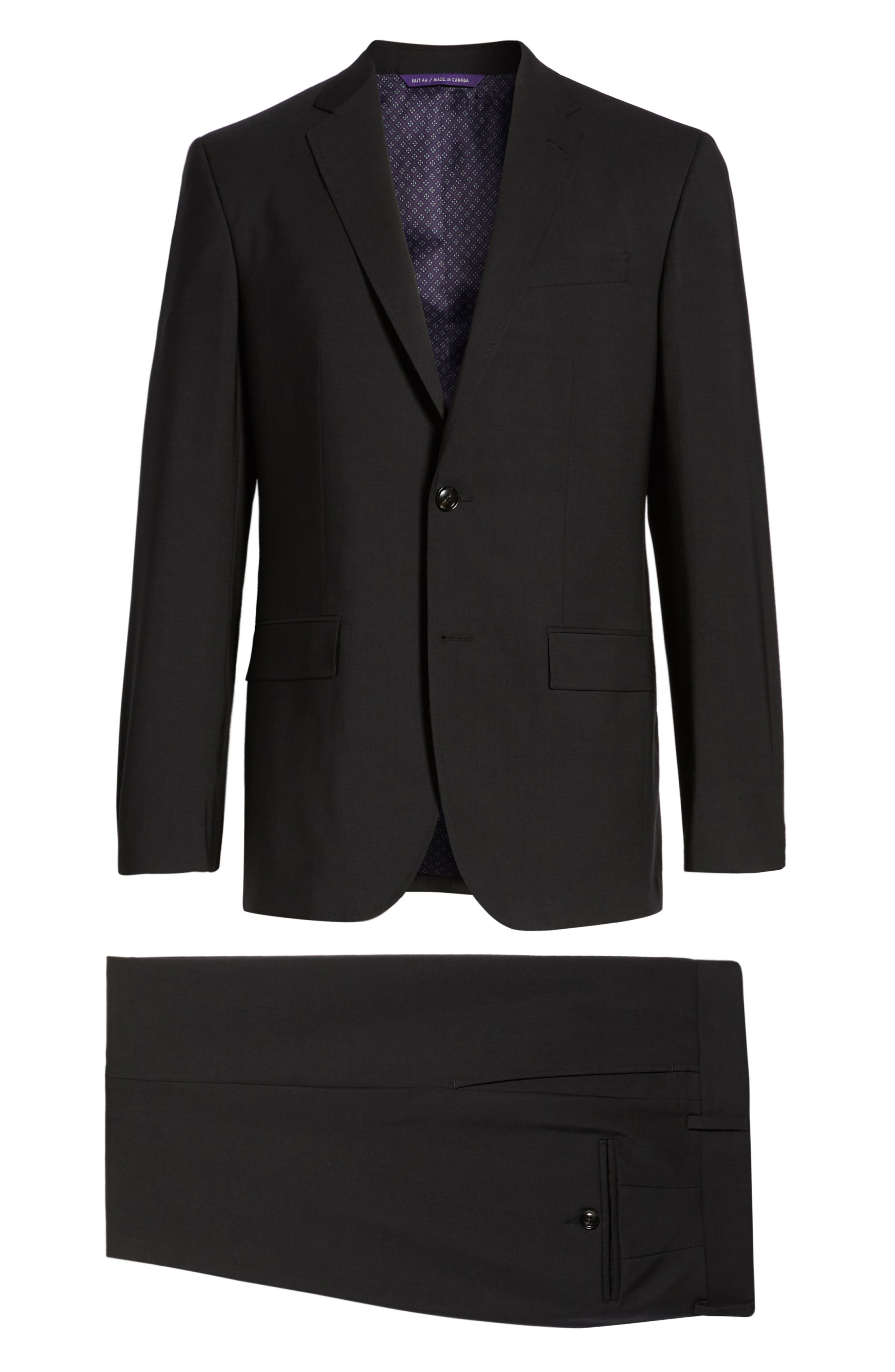 TED BAKER LONDON, Jay Trim Fit Solid Wool Suit, Alternate thumbnail 9, color, BLACK