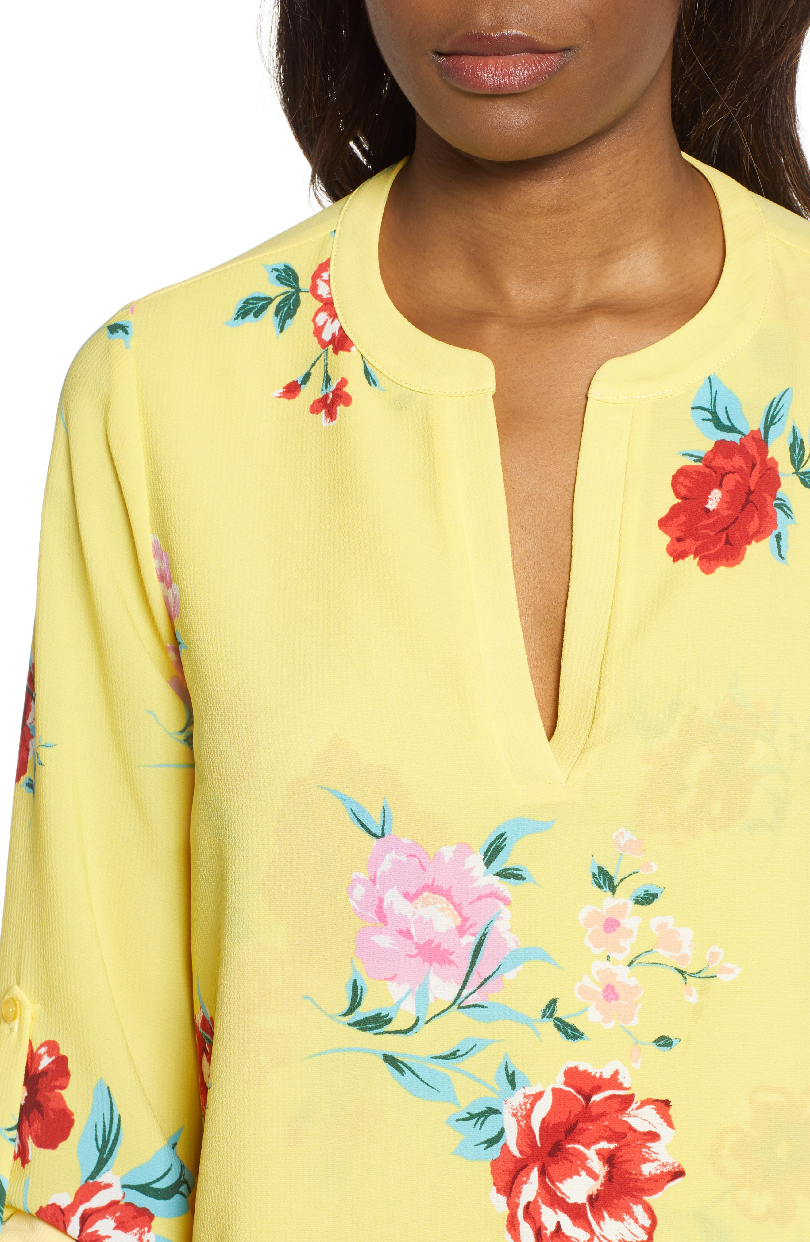 GIBSON, x International Women's Day Erin Cross Front Tunic Blouse, Alternate thumbnail 5, color, VIRGINIA BLOOM