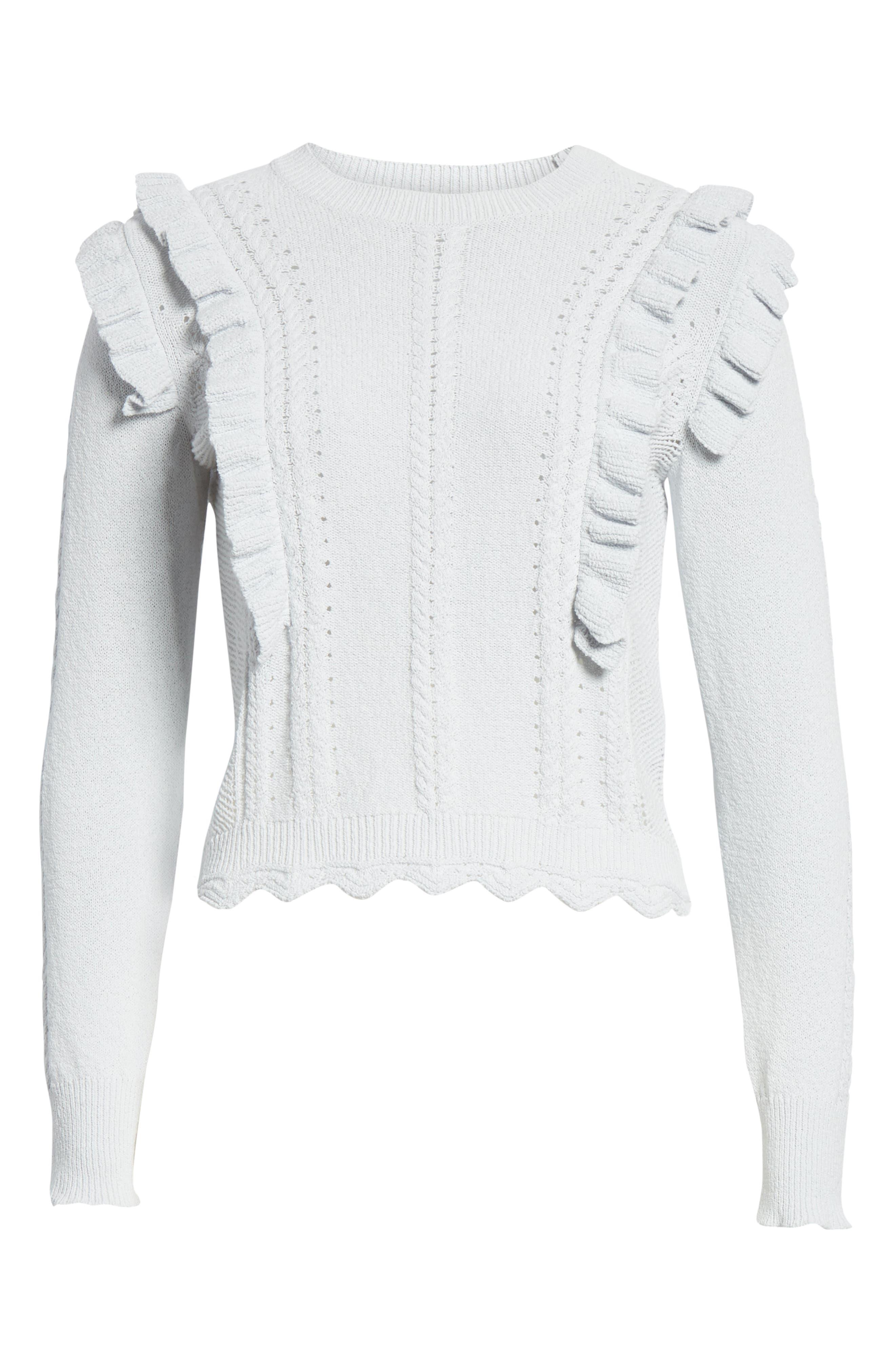 REBECCA TAYLOR, Ruffled Sweater, Alternate thumbnail 6, color, LIGHT MINT