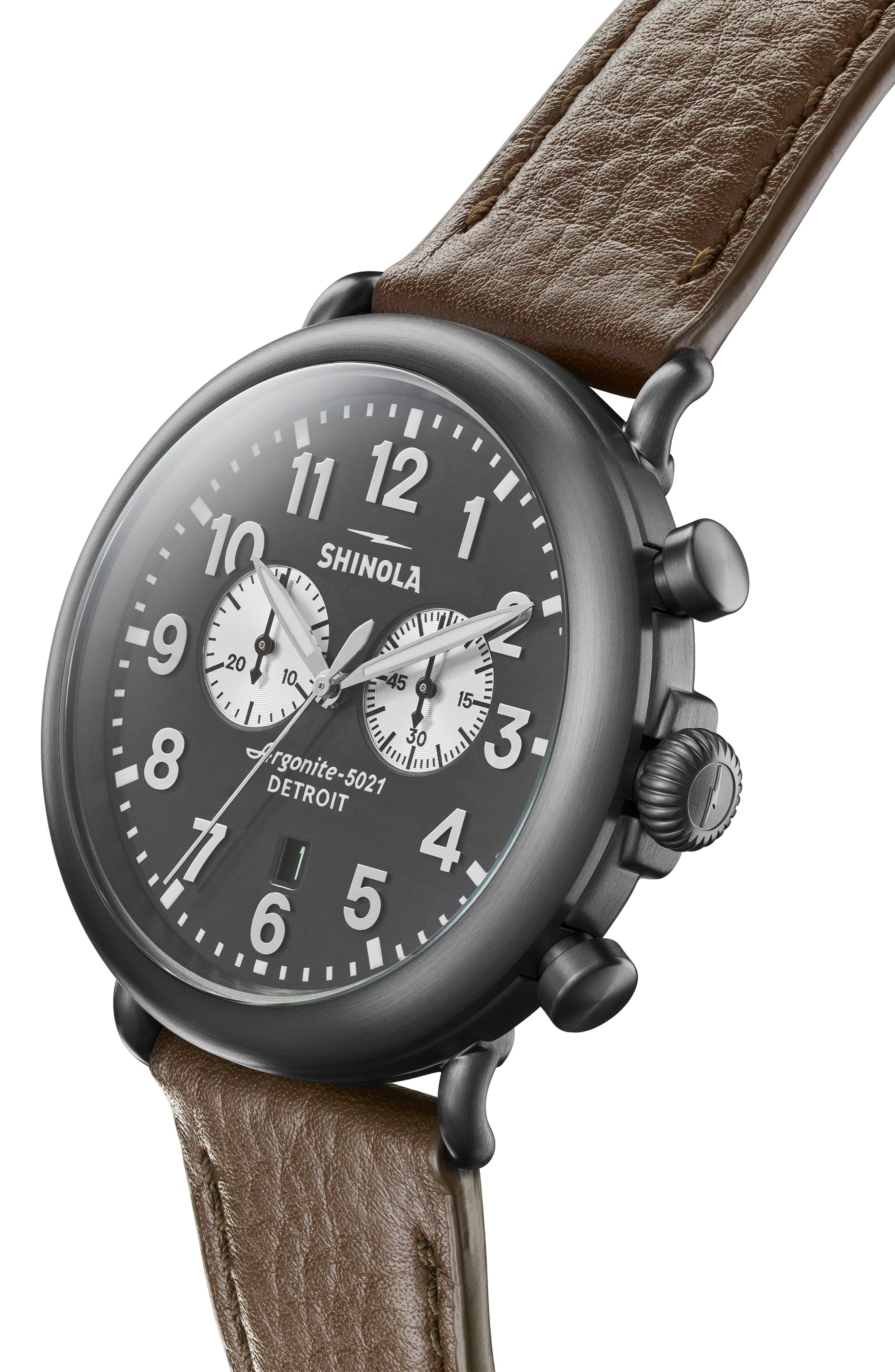 SHINOLA, The Runwell Chrono Leather Strap Watch, 47mm, Alternate thumbnail 5, color, WALNUT/ GUNMETAL