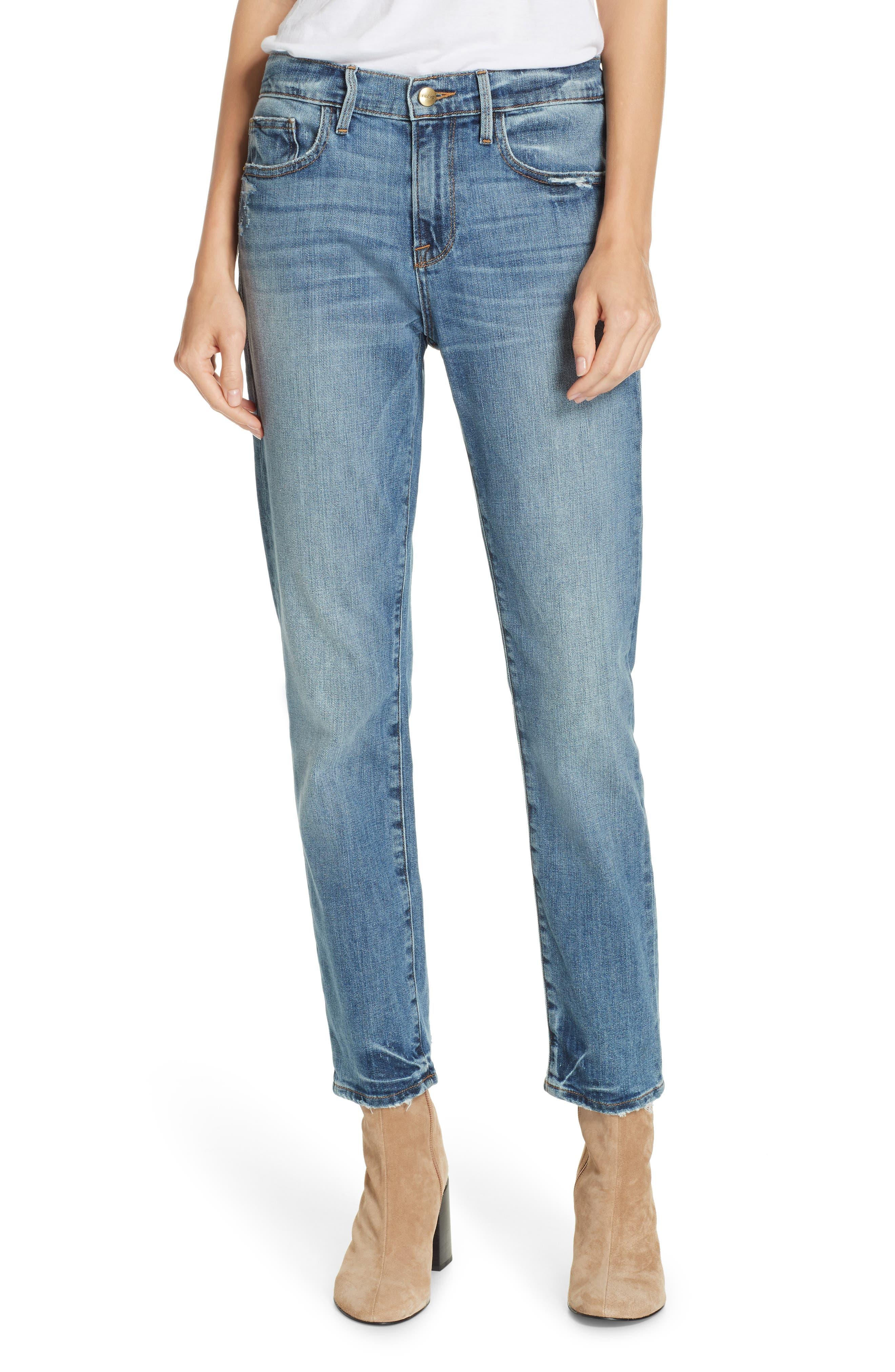 FRAME Le Boy Distressed Boyfriend Jeans, Main, color, BECKHAM