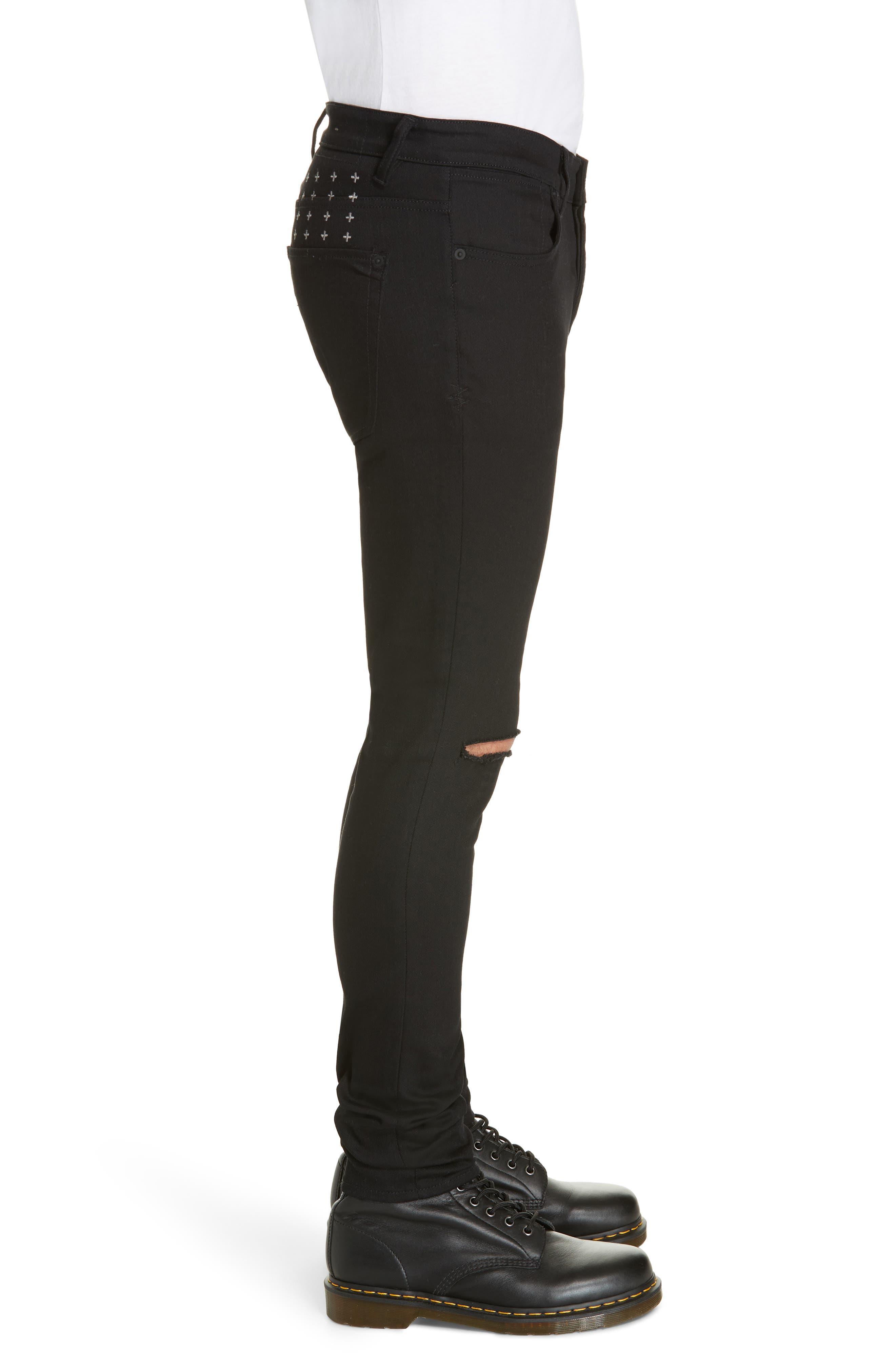 KSUBI, Van Winkle Ace Slice Jeans, Alternate thumbnail 3, color, BLACK