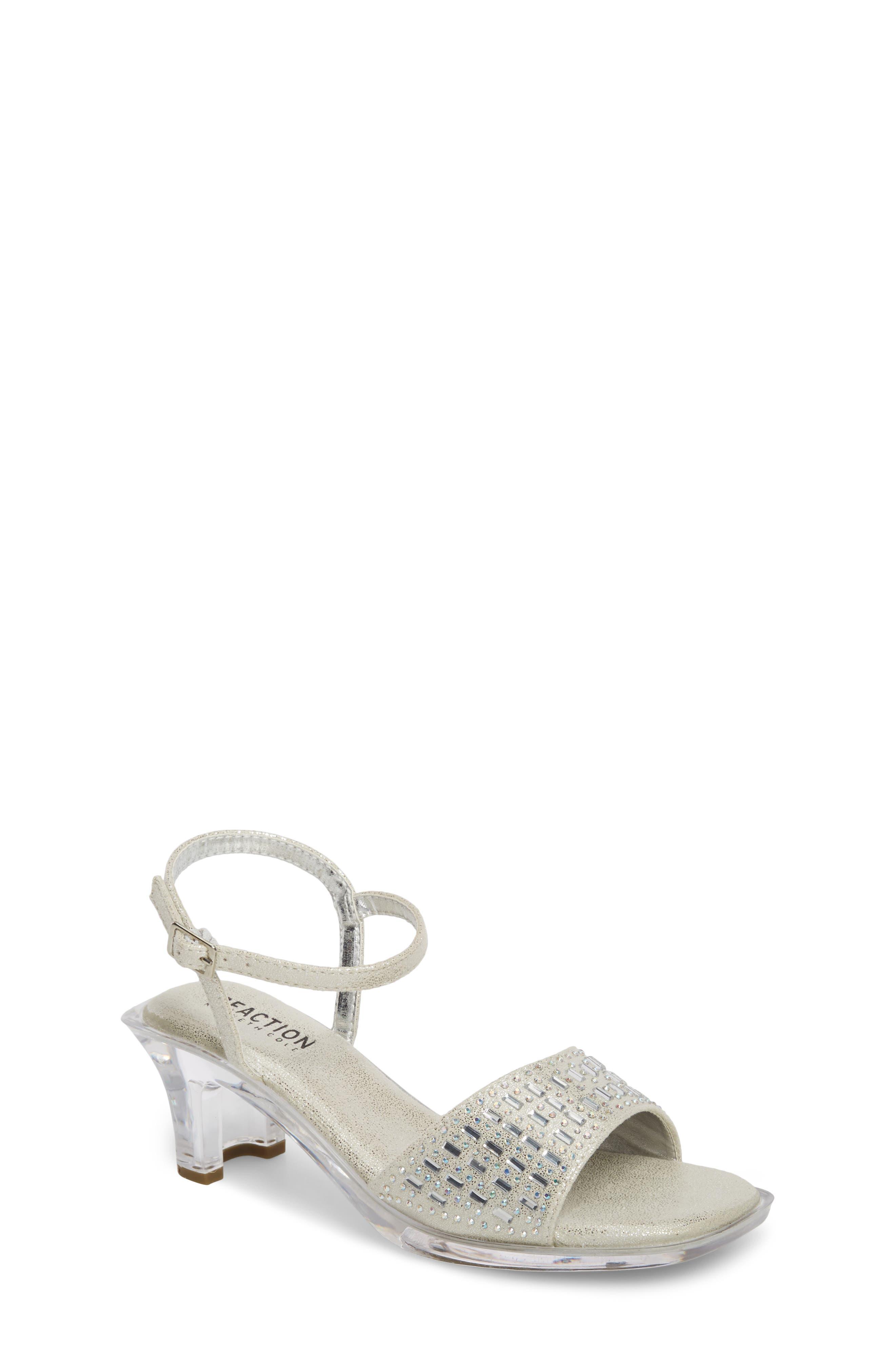 REACTION KENNETH COLE Cind-R-Ella Embellished Sandal, Main, color, SILVER