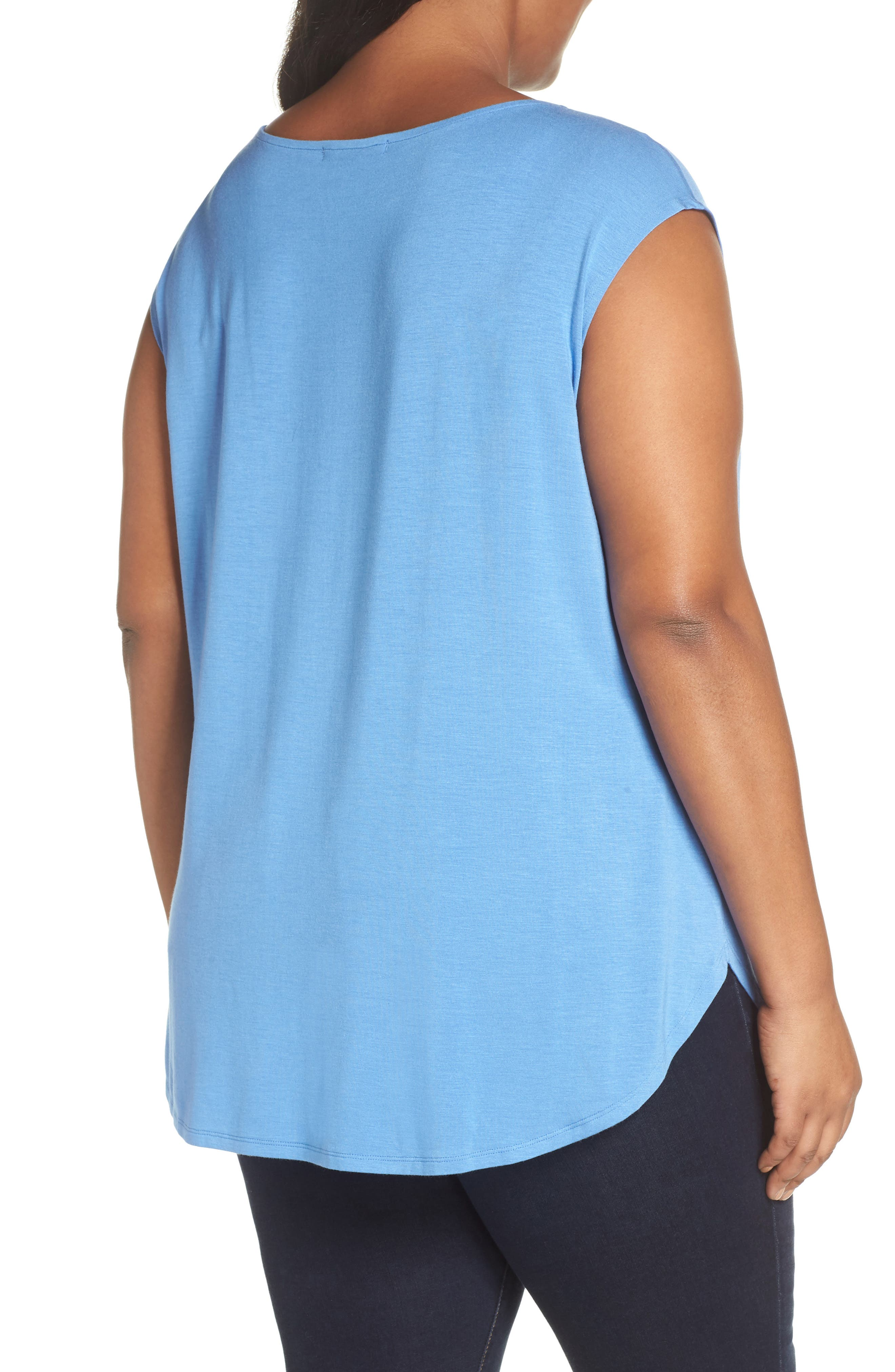 SEJOUR, Cap Sleeve Drape Top, Alternate thumbnail 2, color, BLUE YONDER