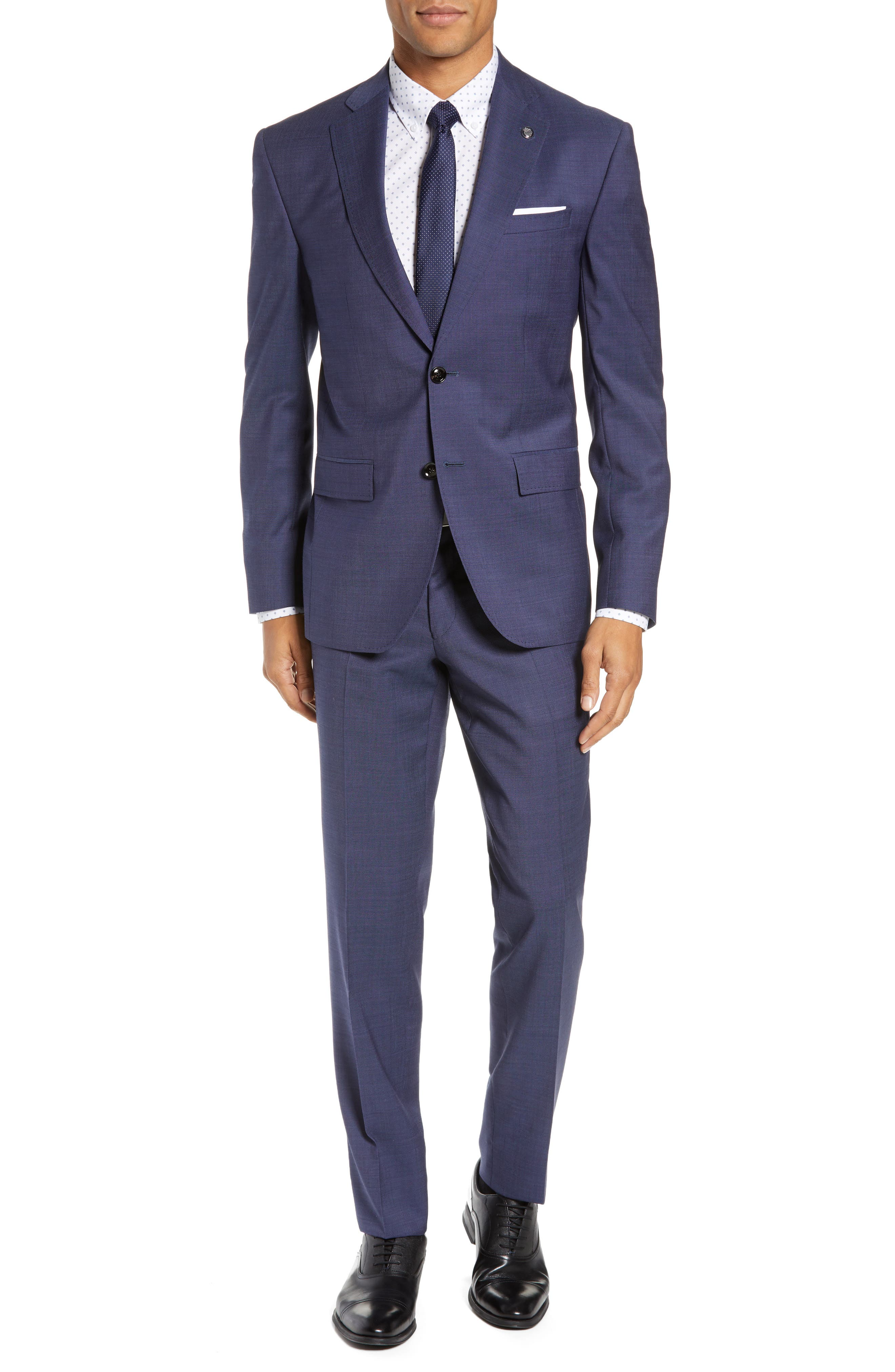 TED BAKER LONDON, Roger Slim Fit Solid Wool Suit, Main thumbnail 1, color, BLUE