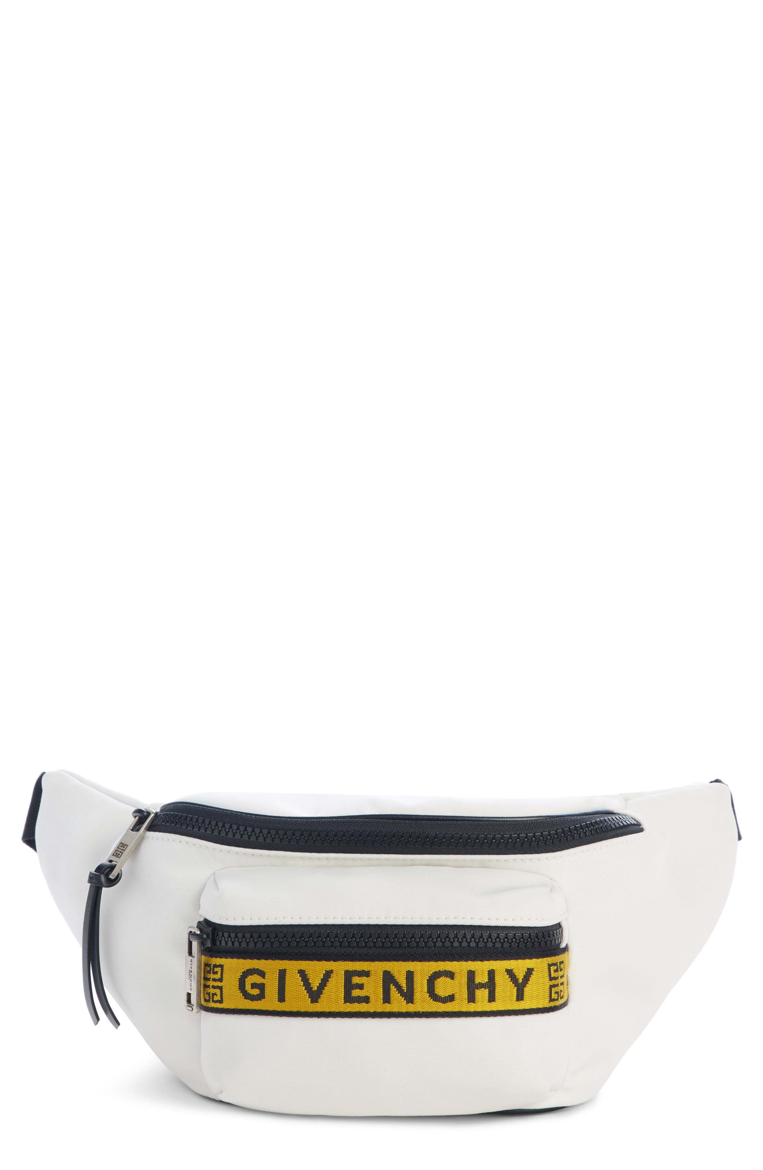 GIVENCHY Logo Hip Pack, Main, color, WHITE/ YELLOW