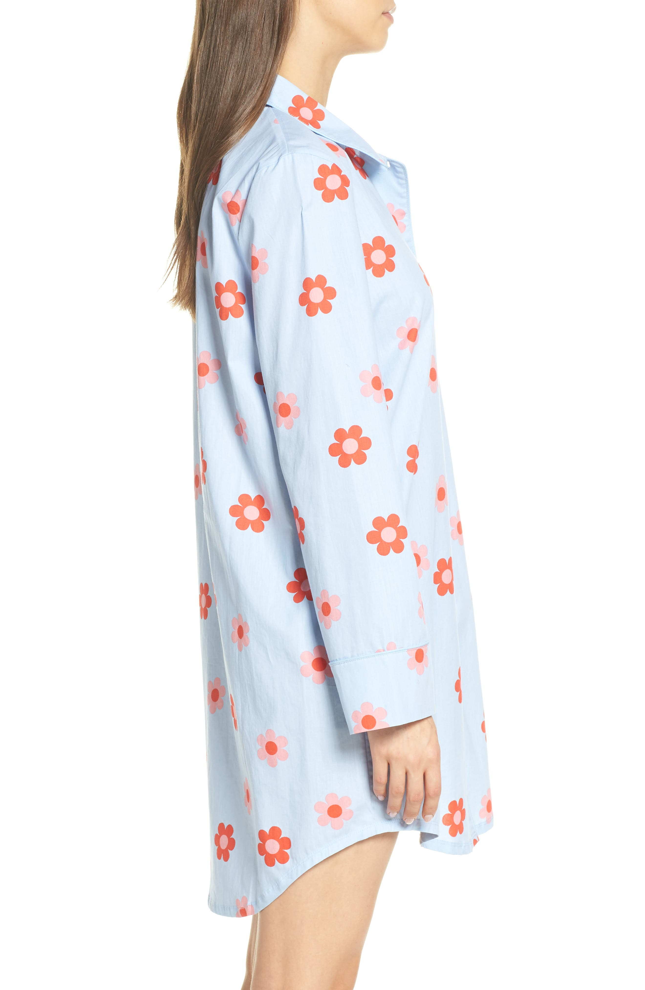 BAN.DO, Retro Daisy Sleep Shirt, Alternate thumbnail 3, color, LIGHT BLUE