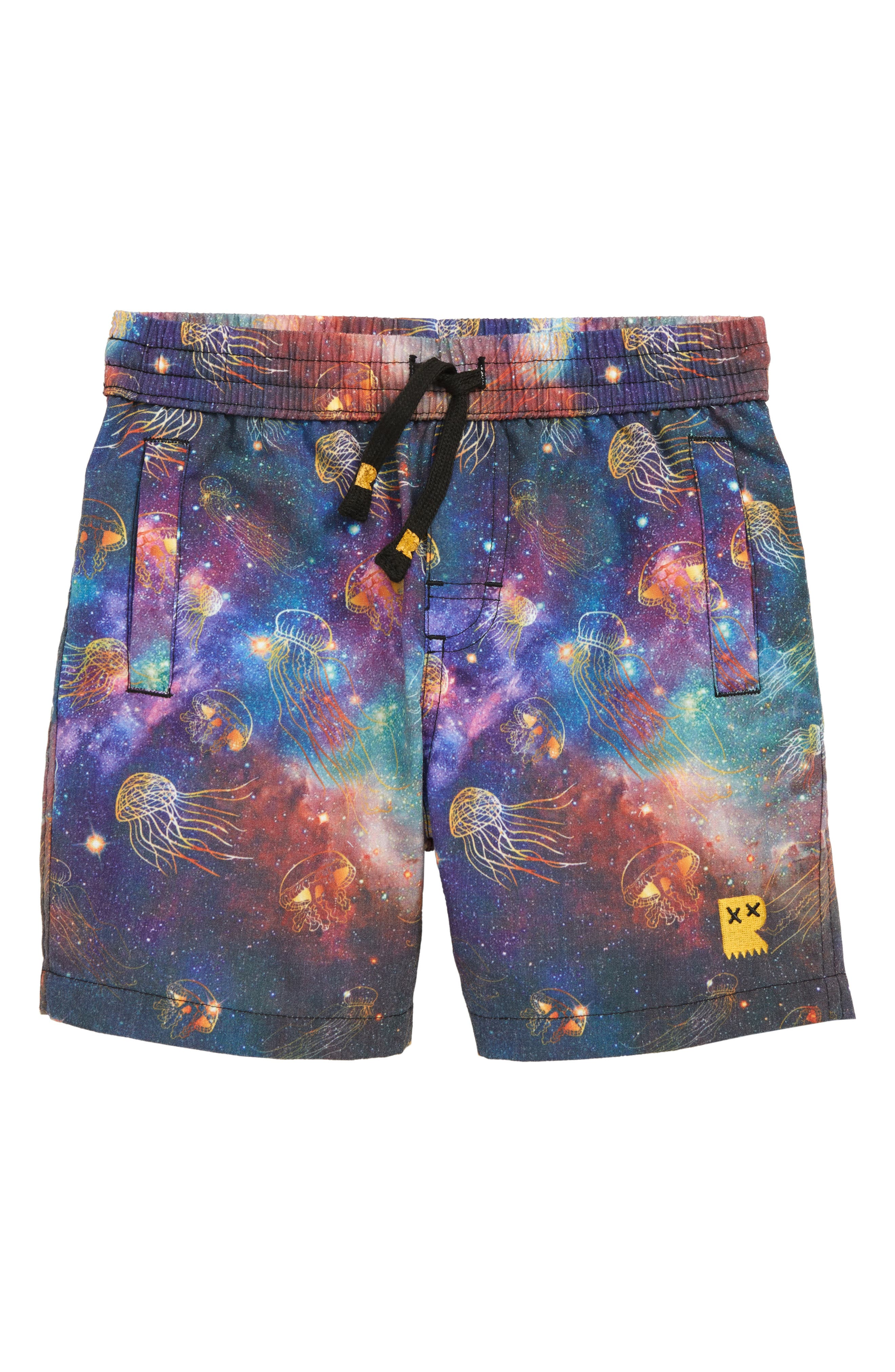ROCK YOUR KID Intergalactic Board Shorts, Main, color, BLACK
