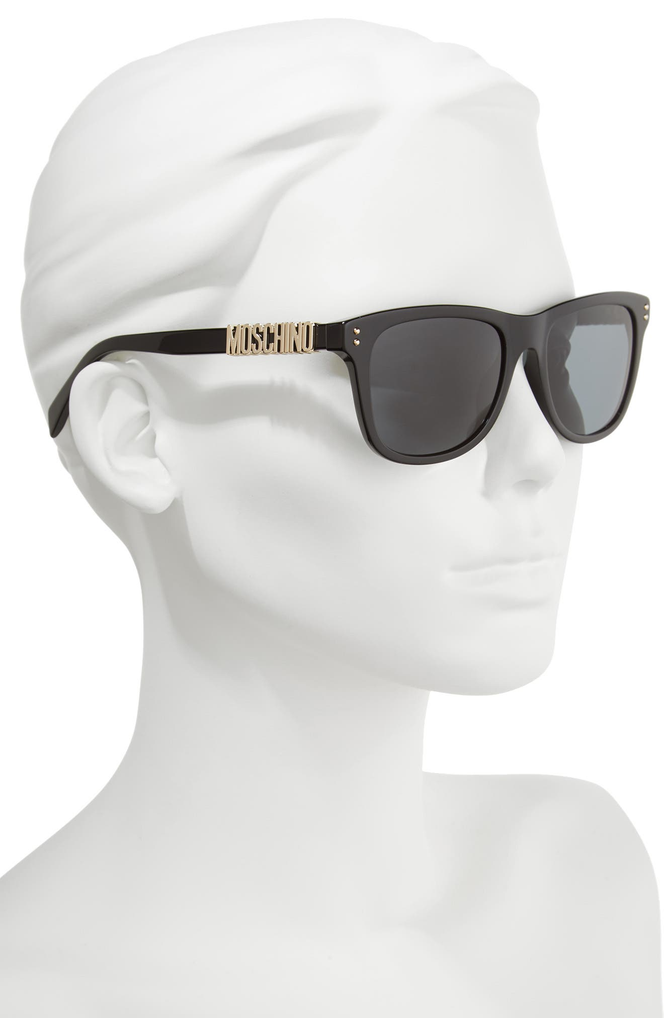 MOSCHINO, 53mm Polarized Sunglasses, Alternate thumbnail 2, color, BLACK