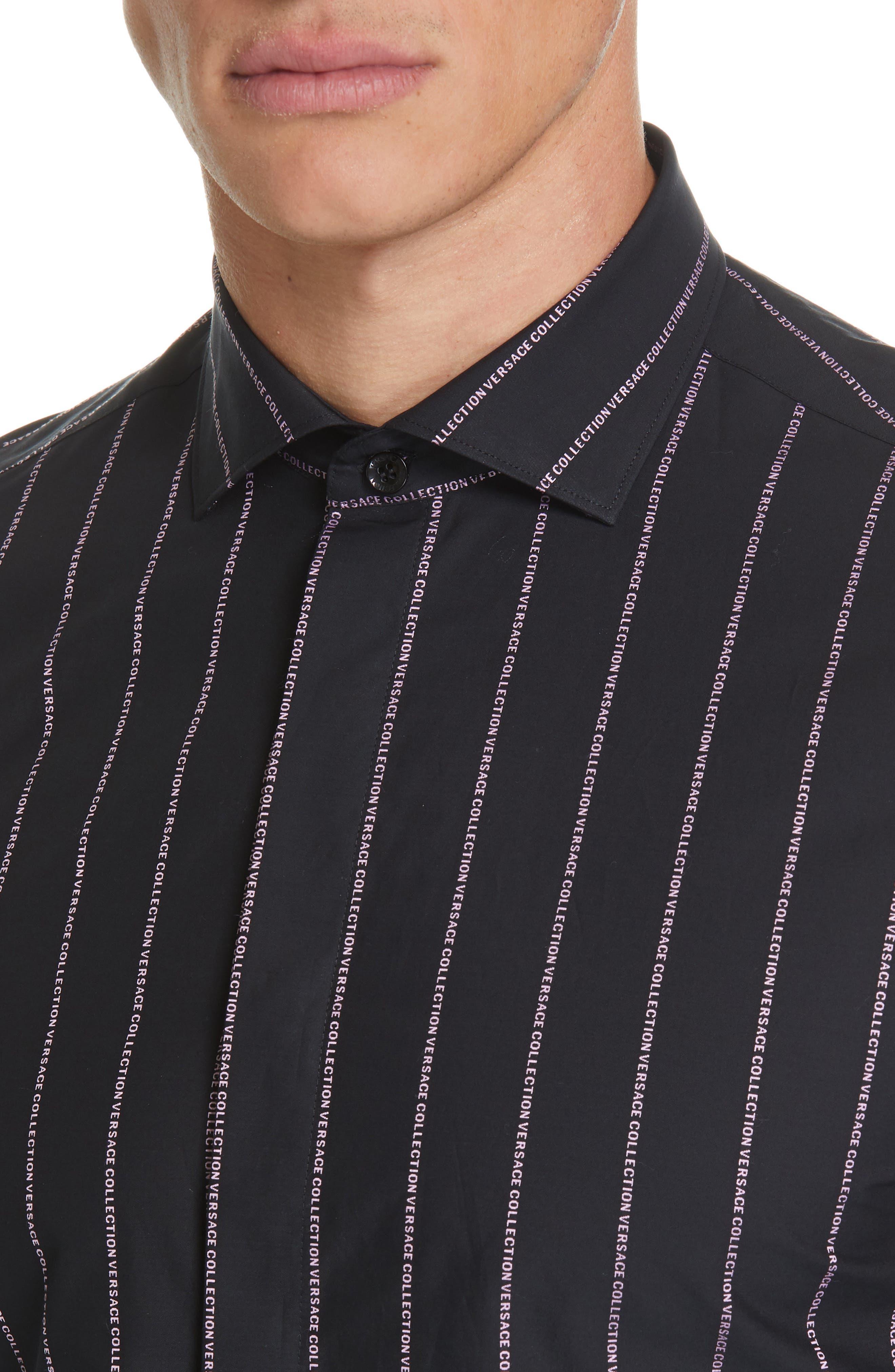 VERSACE COLLECTION, Logo Stripe Sport Shirt, Alternate thumbnail 2, color, BLACK/ PINK