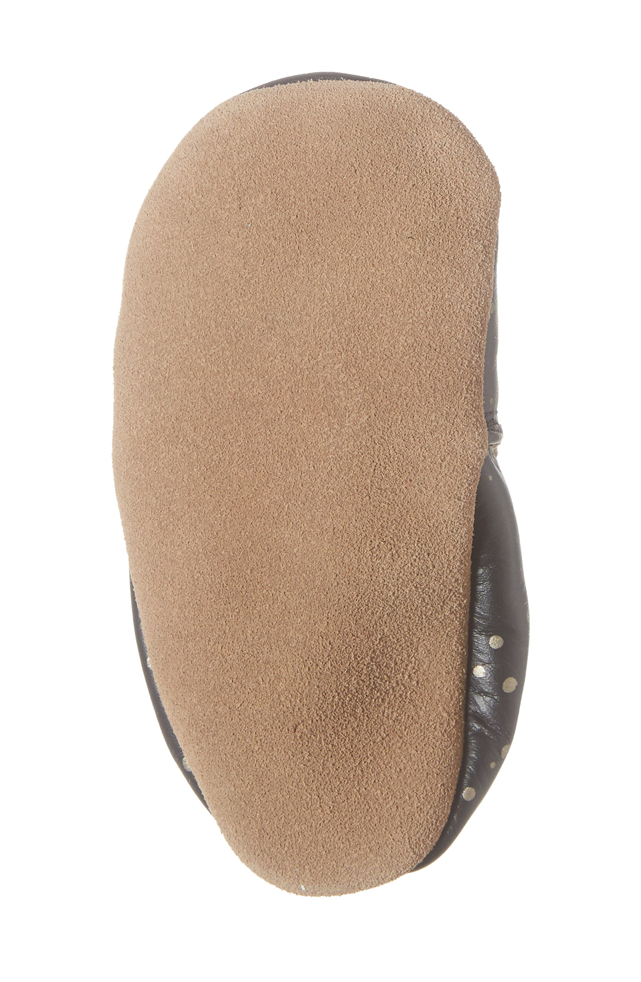 ROBEEZ<SUP>®</SUP>, Galaxy Girl Moccasin Crib Shoe, Alternate thumbnail 6, color, BLACK