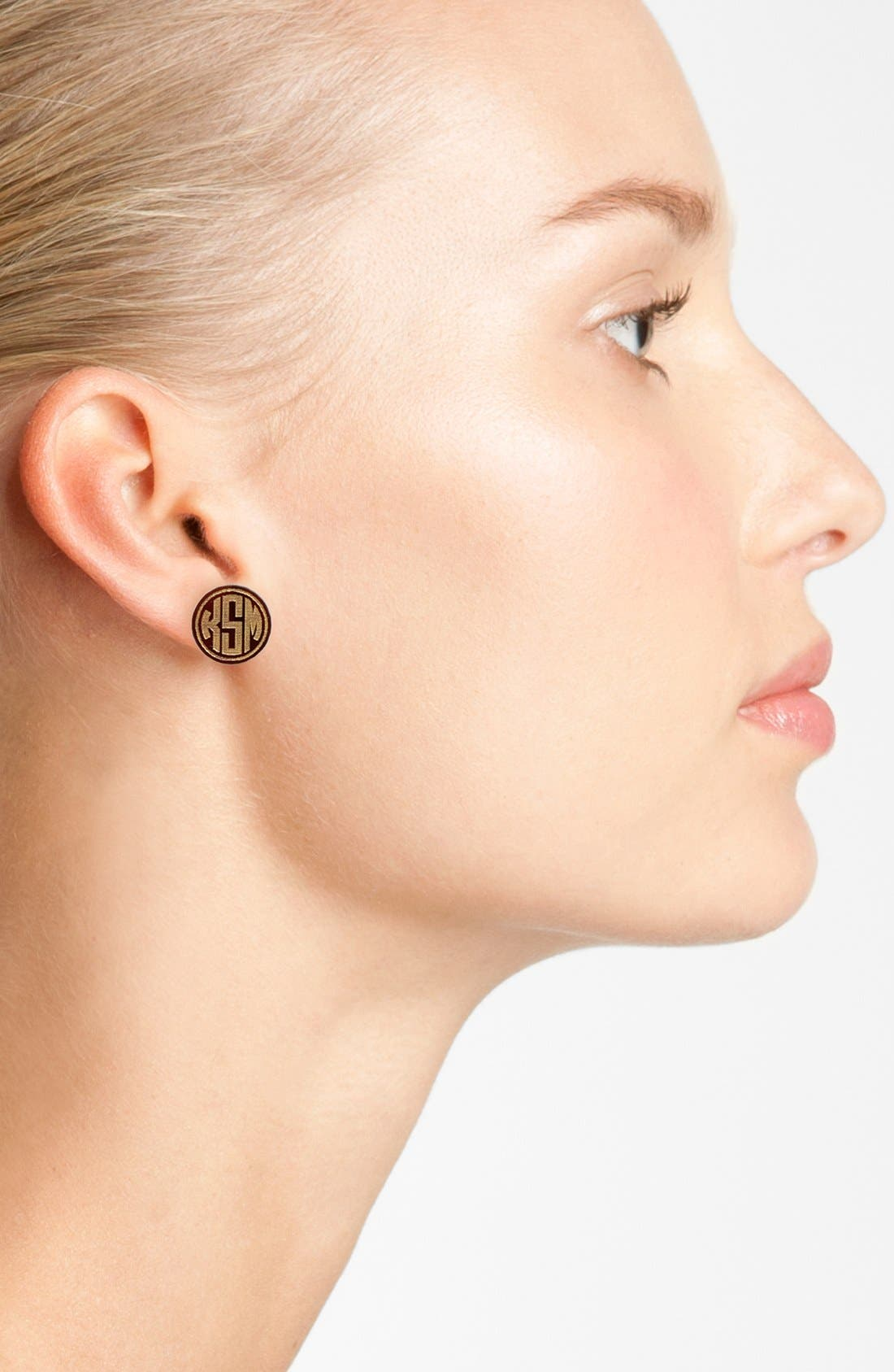 MOON AND LOLA, 'Chelsea' Small Personalized Monogram Stud Earrings, Alternate thumbnail 2, color, BLONDE TORTOISE/ GOLD