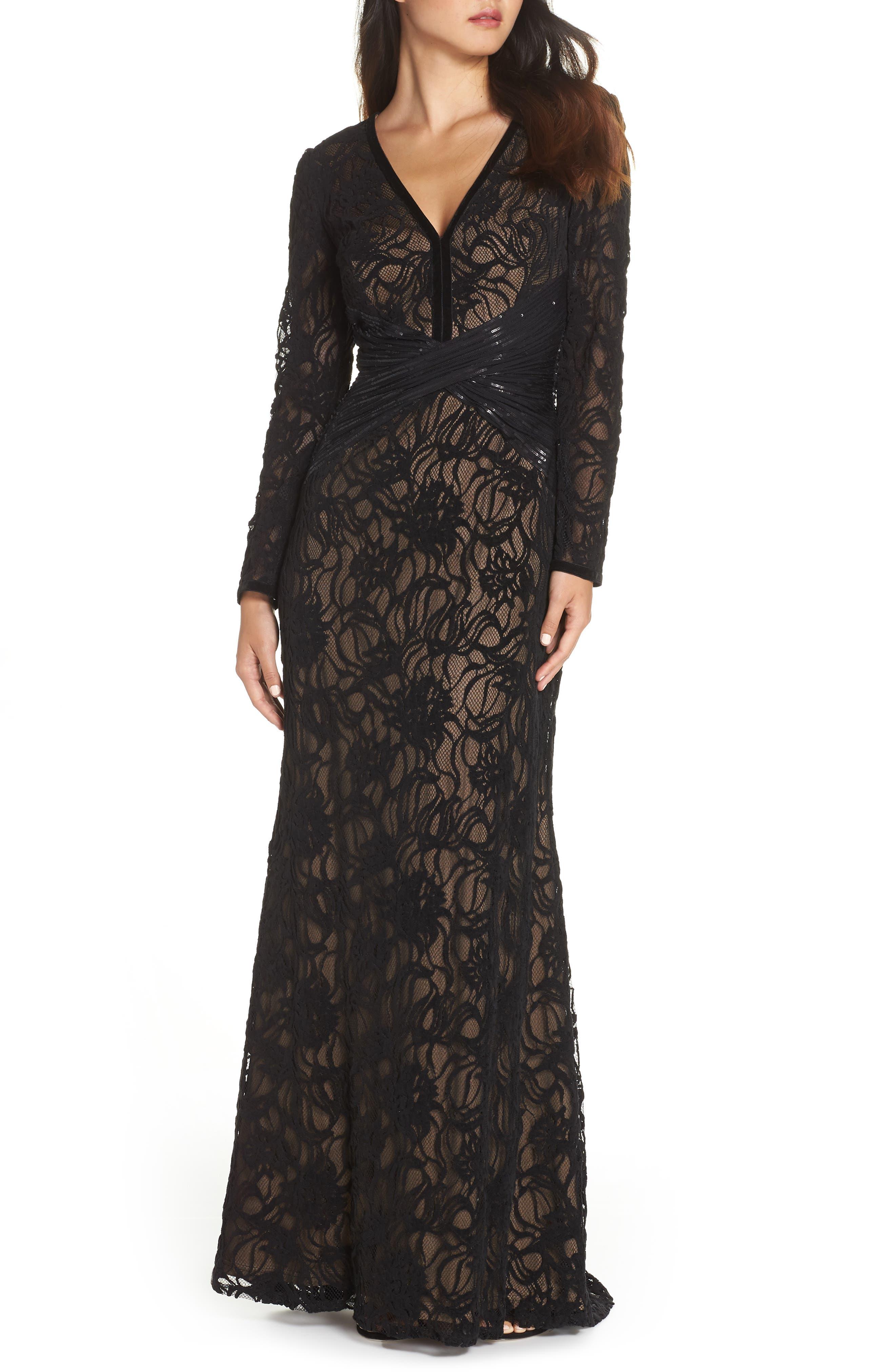 TADASHI SHOJI Burnout Lace Gown, Main, color, BLACK/ NUDE