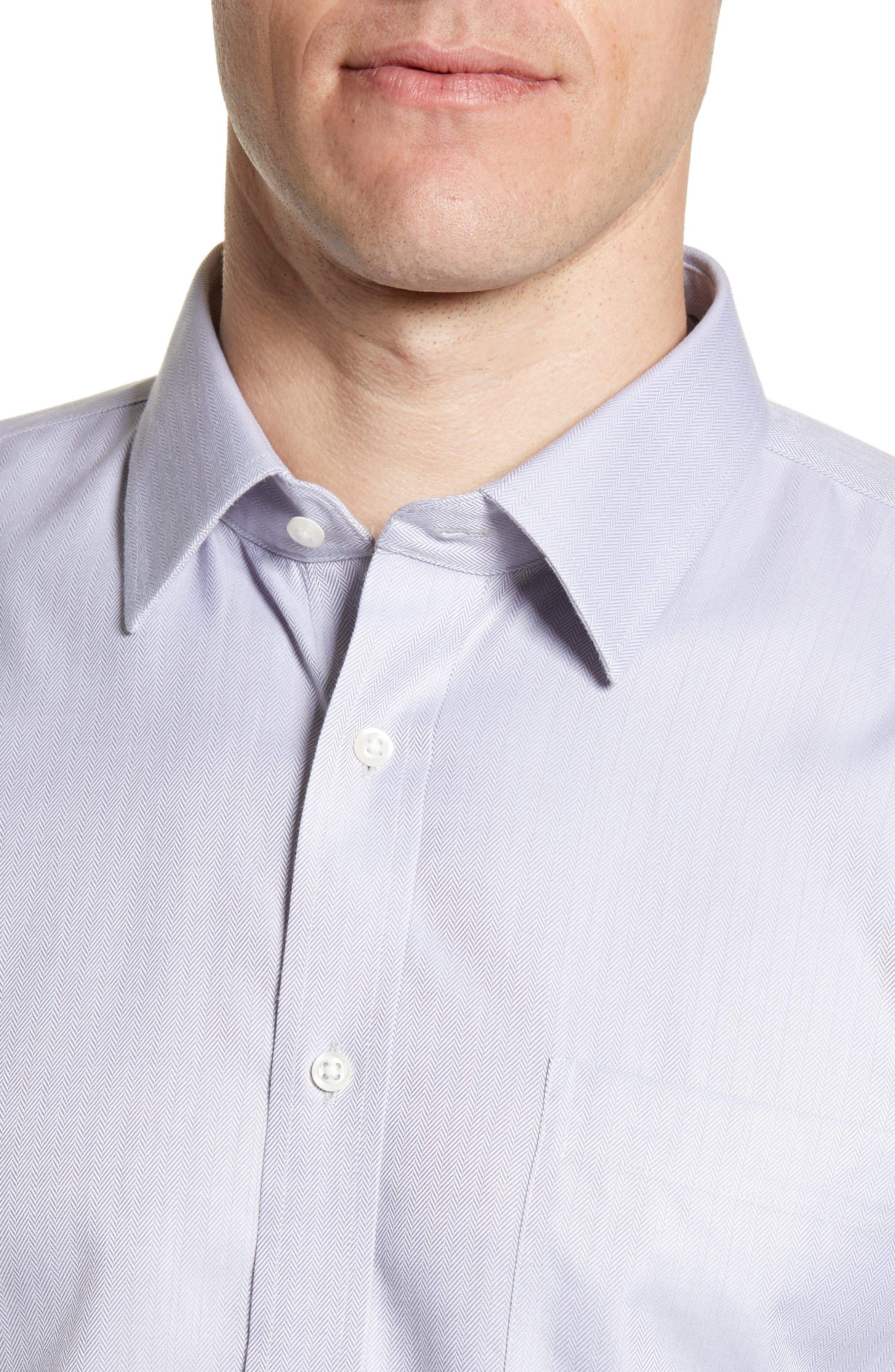 NORDSTROM MEN'S SHOP, Smartcare<sup>™</sup> Trim Fit Herringbone Dress Shirt, Alternate thumbnail 2, color, GREY DECEMBER