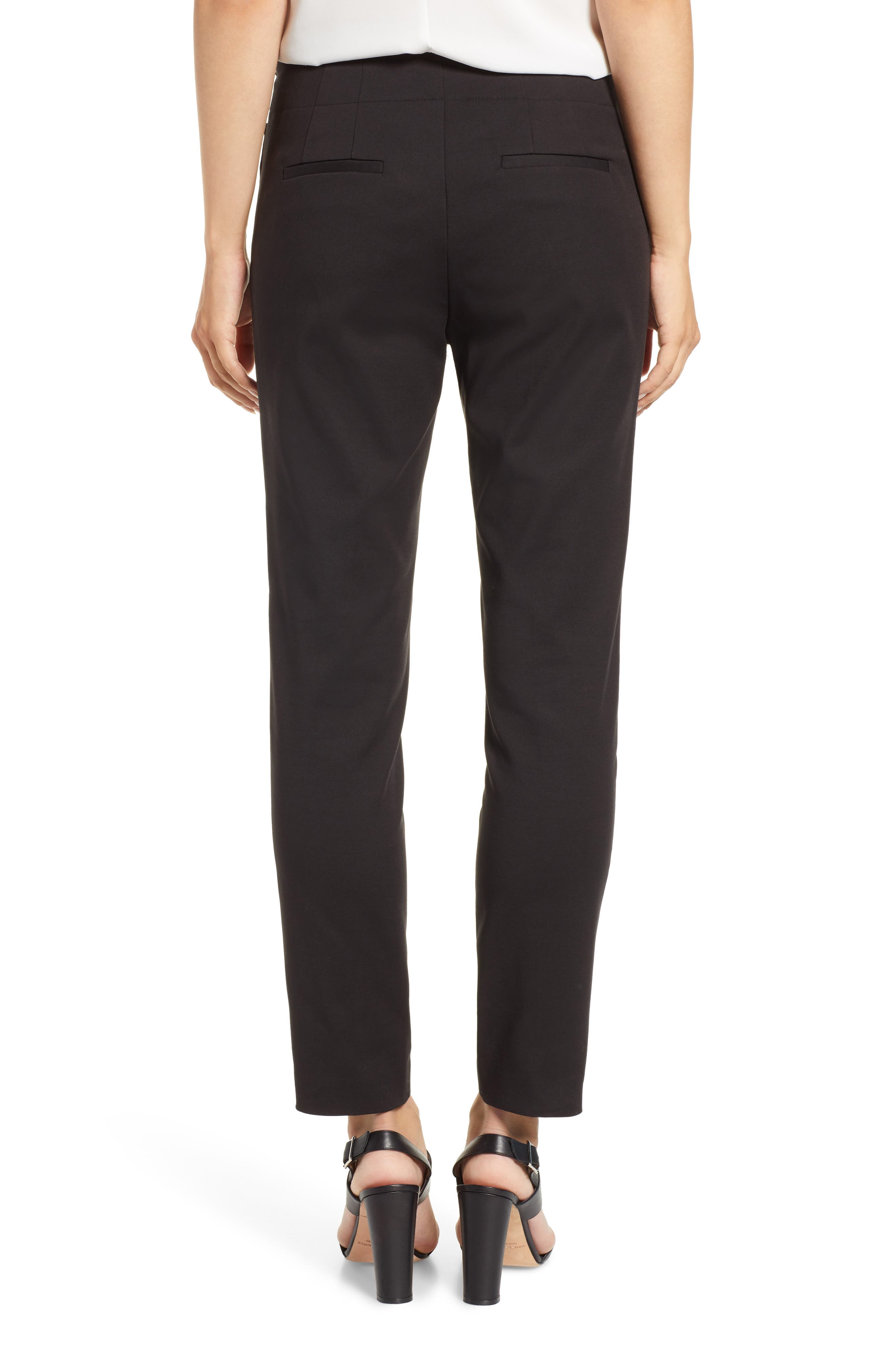VINCE CAMUTO, Side Zip Stretch Cotton Blend Pants, Alternate thumbnail 2, color, RICH BLACK