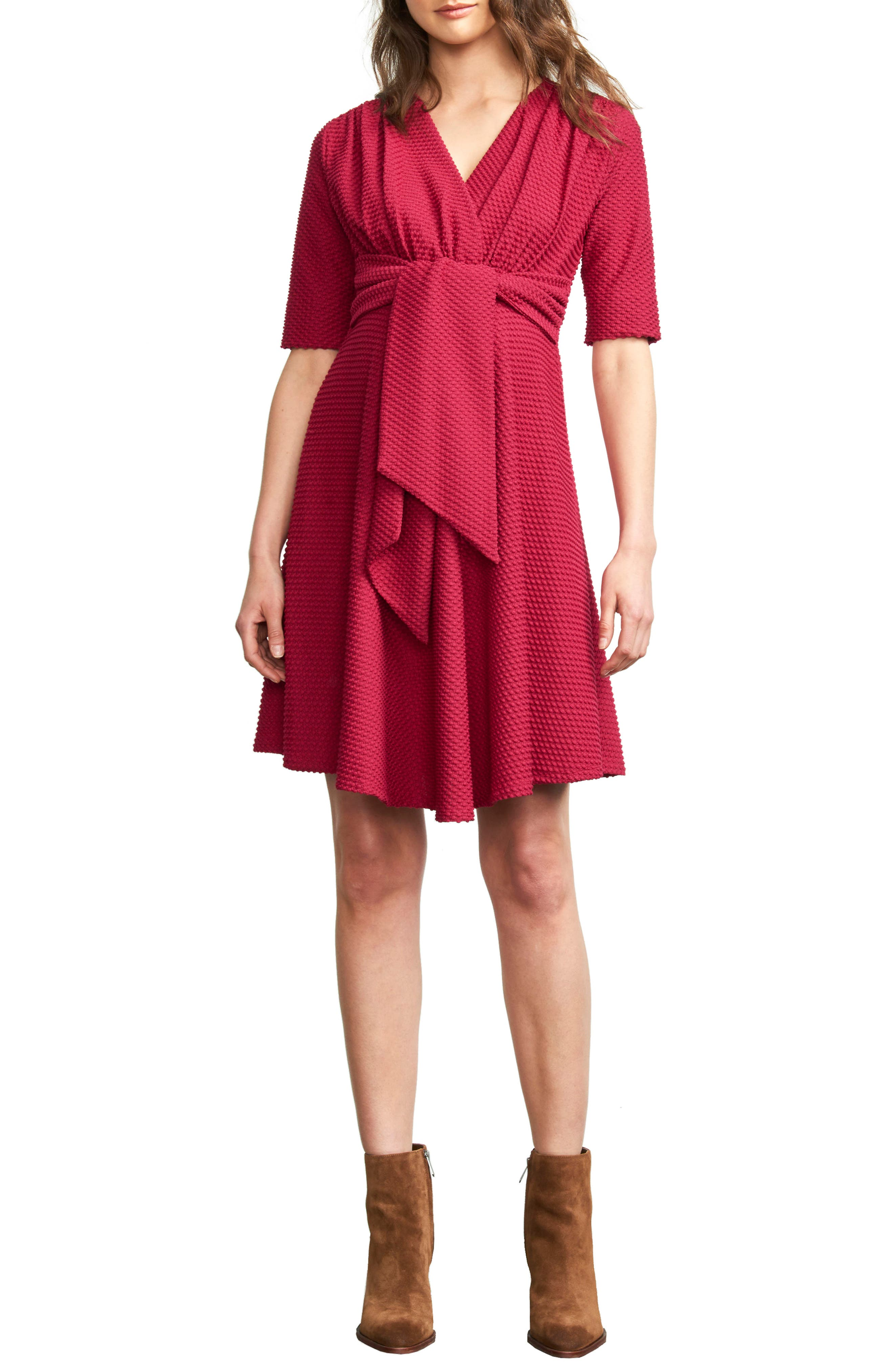 MATERNAL AMERICA, Tie Waist Maternity Dress, Main thumbnail 1, color, MAGENTA PINK