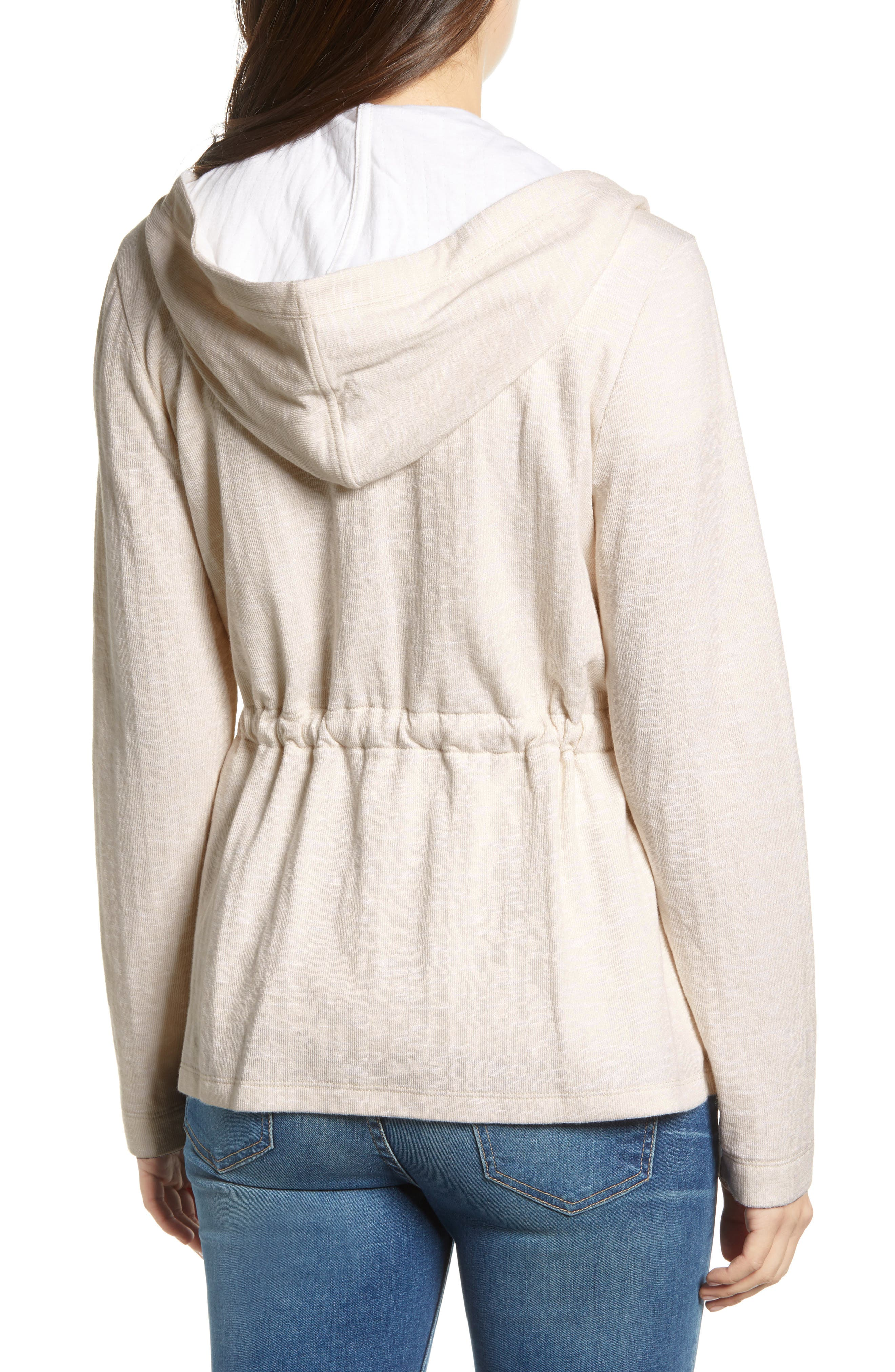 CASLON<SUP>®</SUP>, Open Front Hooded Cardigan, Alternate thumbnail 2, color, BEIGE- WHITE SPACEDYE