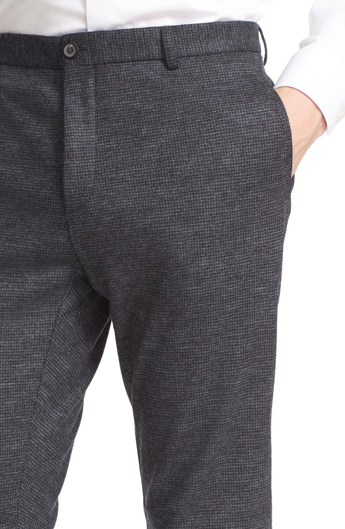 LANVIN, Microcheck Moto Pants, Alternate thumbnail 4, color, 020