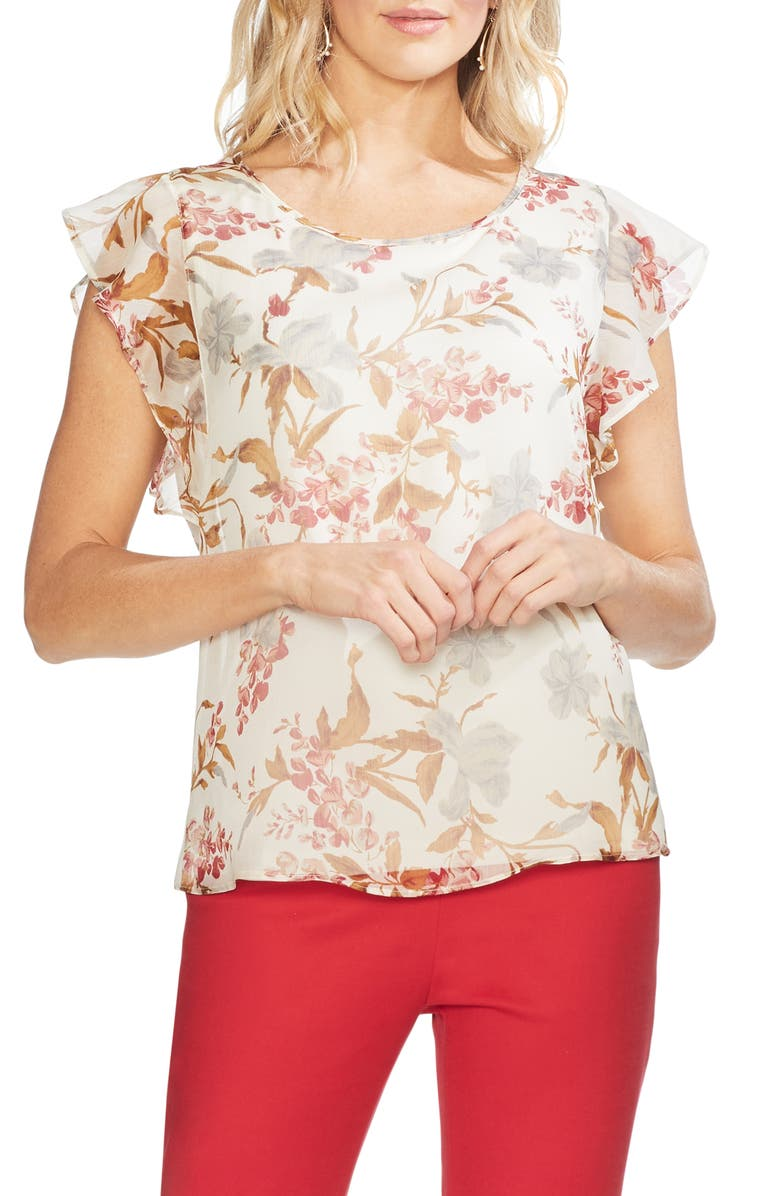 Vince Camuto Tops FLUTTER SLEEVE WILDFLOWER TOP