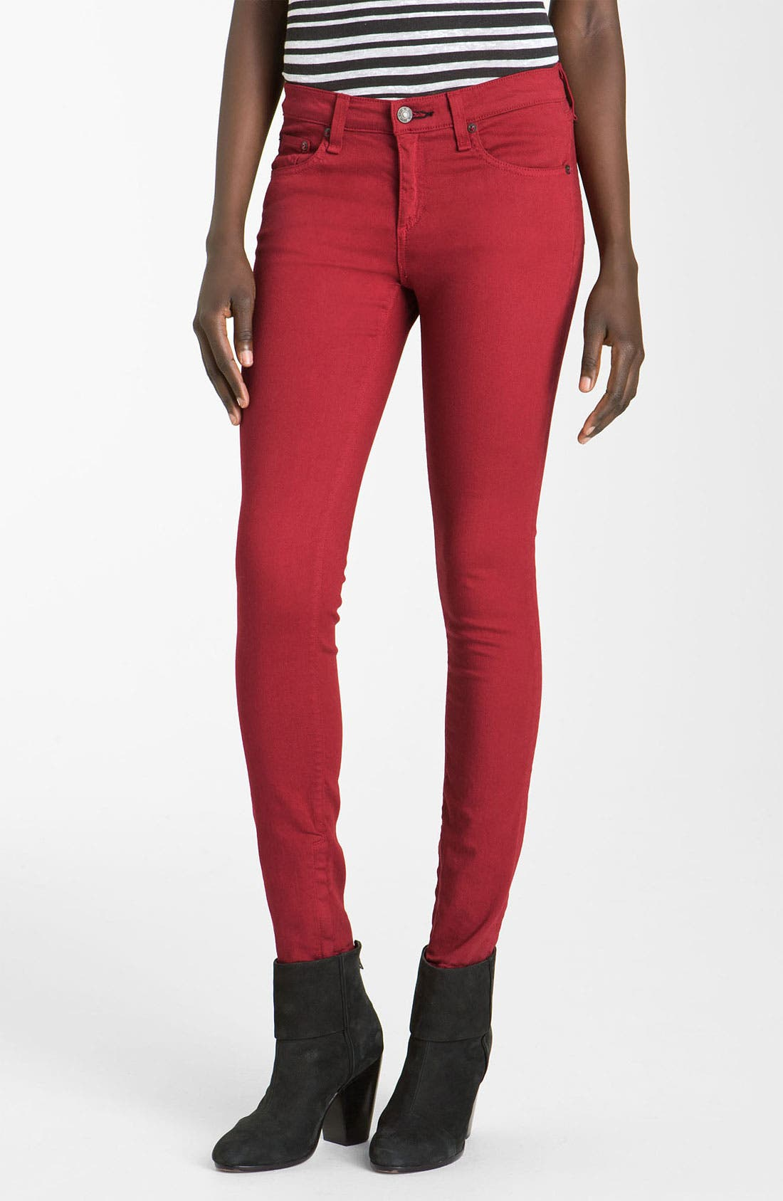RAG & BONE JEAN Skinny Zip Detail Stretch Jeans, Main, color, 600