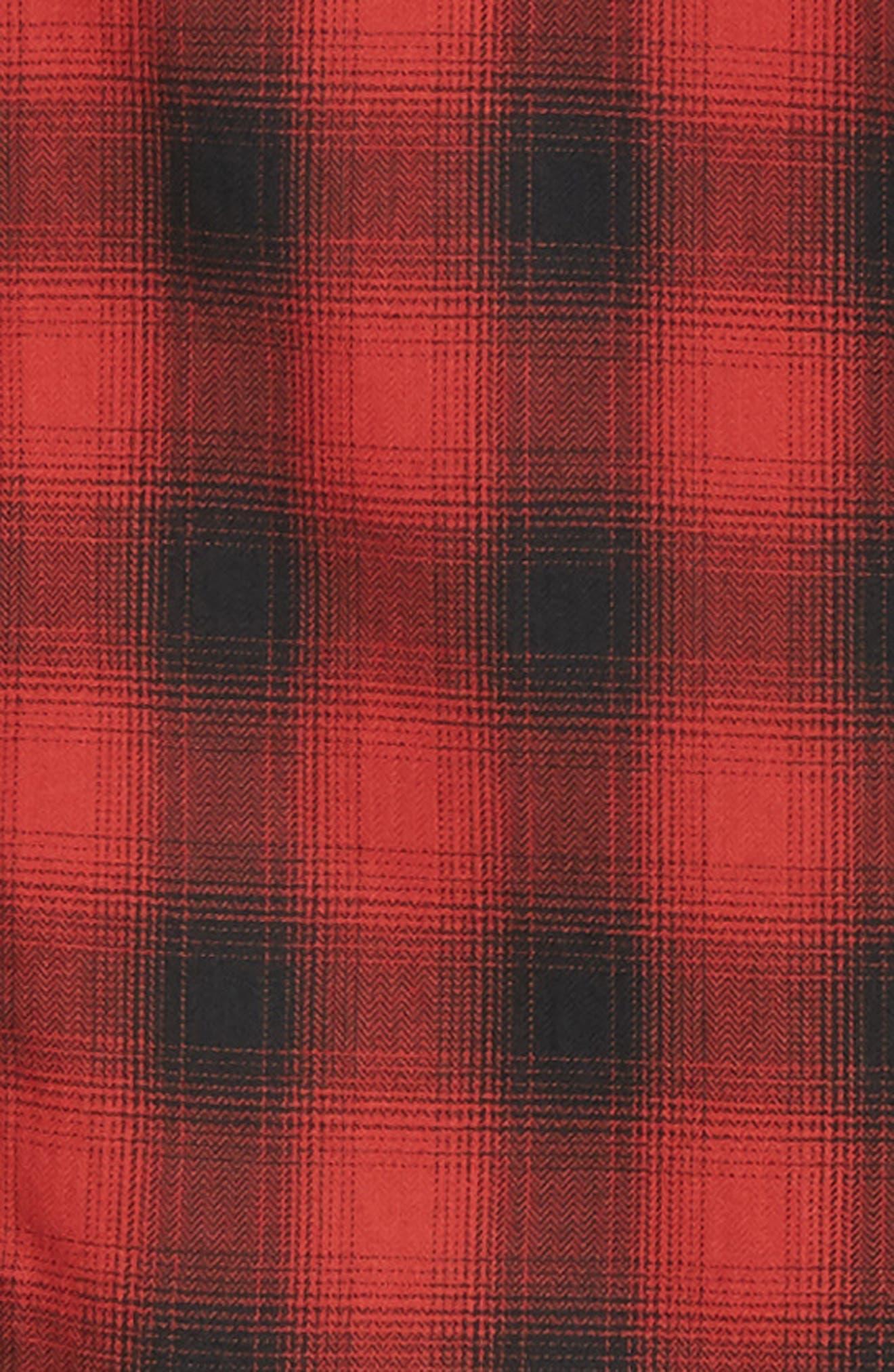 THE KOOPLES, Regular Fit Ombré Plaid Shirt, Alternate thumbnail 6, color, RED / BLACK