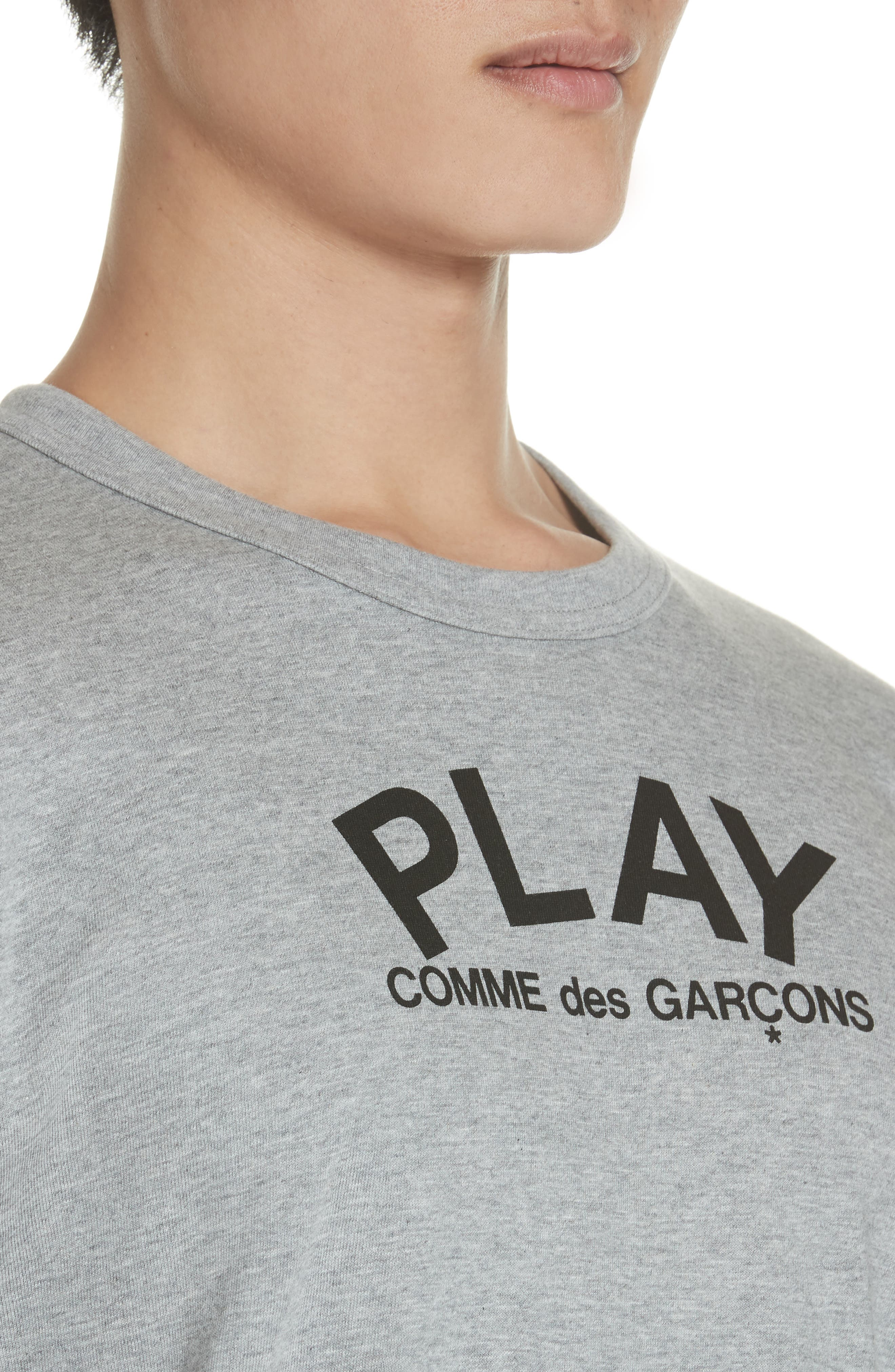 COMME DES GARÇONS PLAY, Logo T-Shirt, Alternate thumbnail 4, color, GREY
