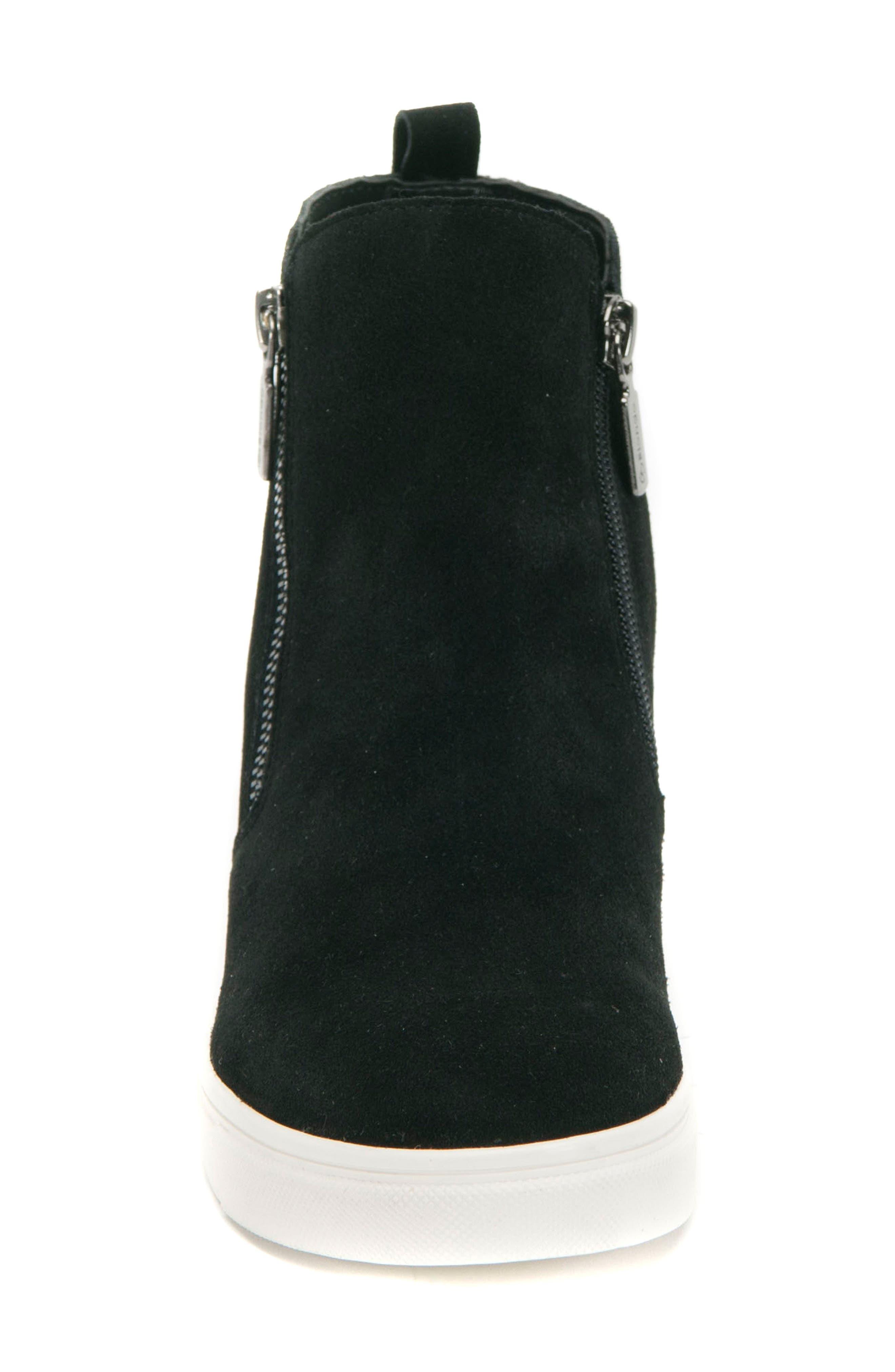 BLONDO, Giselle Waterproof Sneaker, Alternate thumbnail 4, color, BLACK SUEDE
