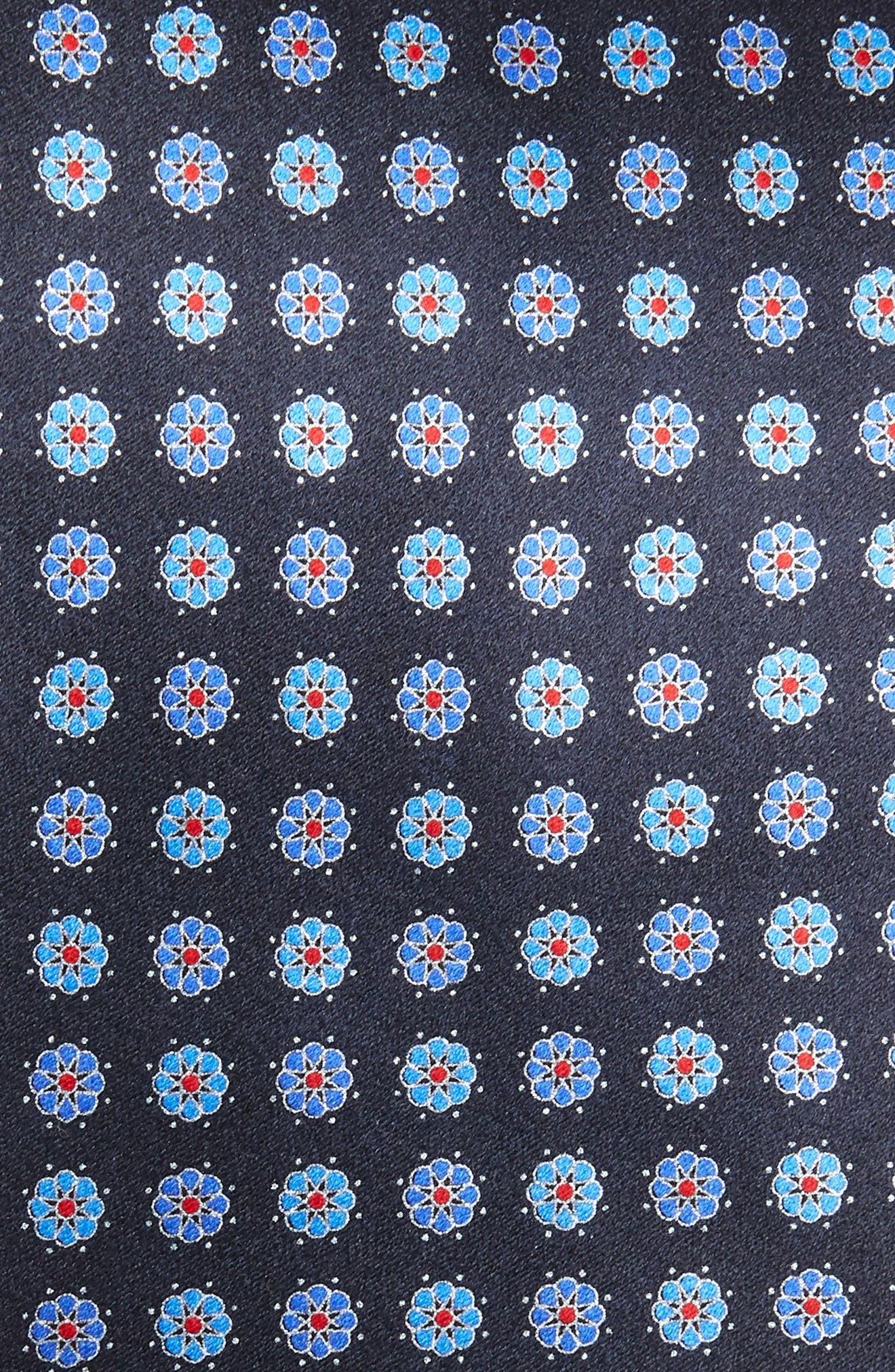 ERMENEGILDO ZEGNA, Floral Silk Tie, Alternate thumbnail 2, color, BLUE
