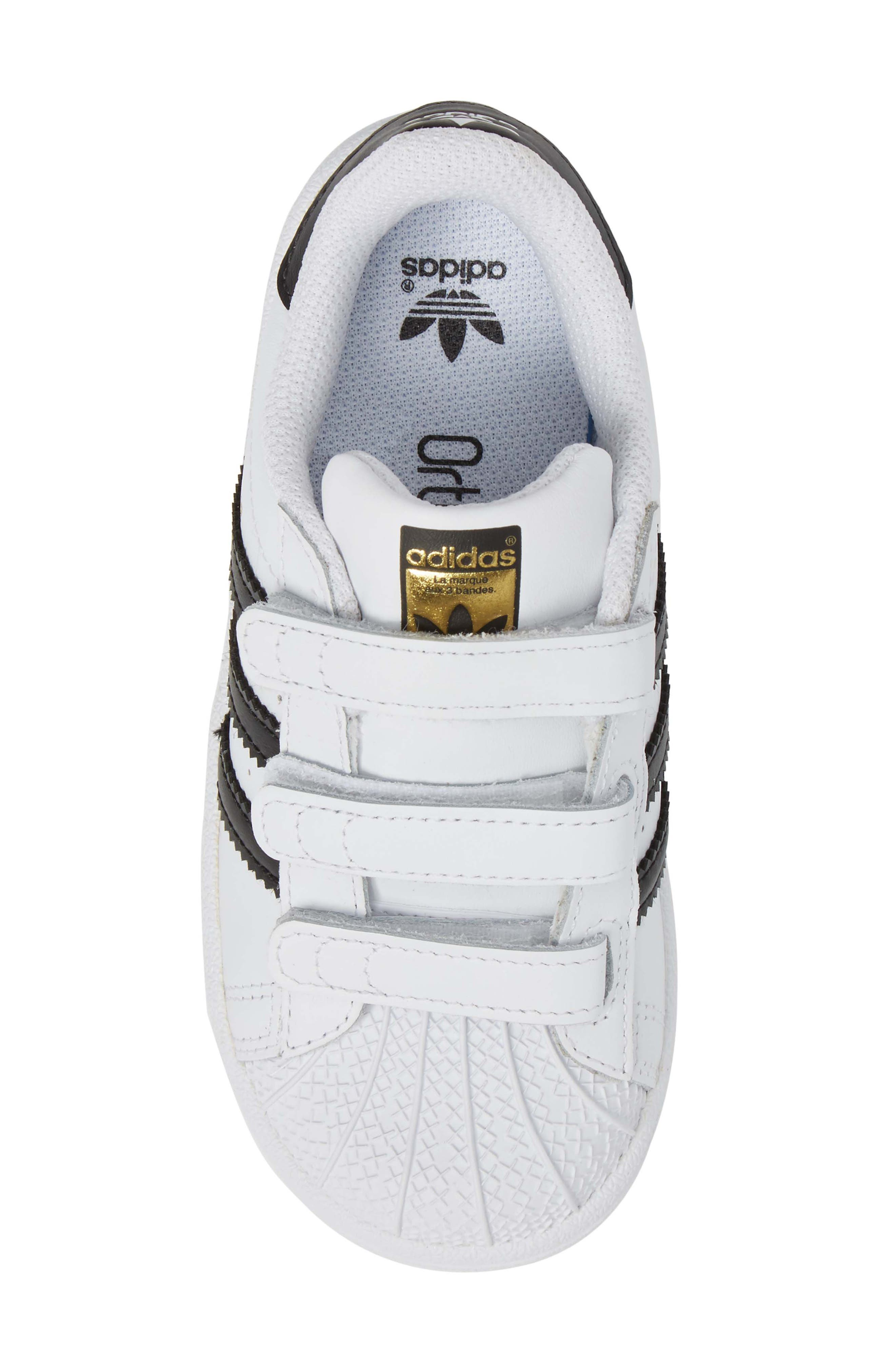 ADIDAS, Superstar Sneaker, Alternate thumbnail 5, color, WHITE/ BLACK/ WHITE