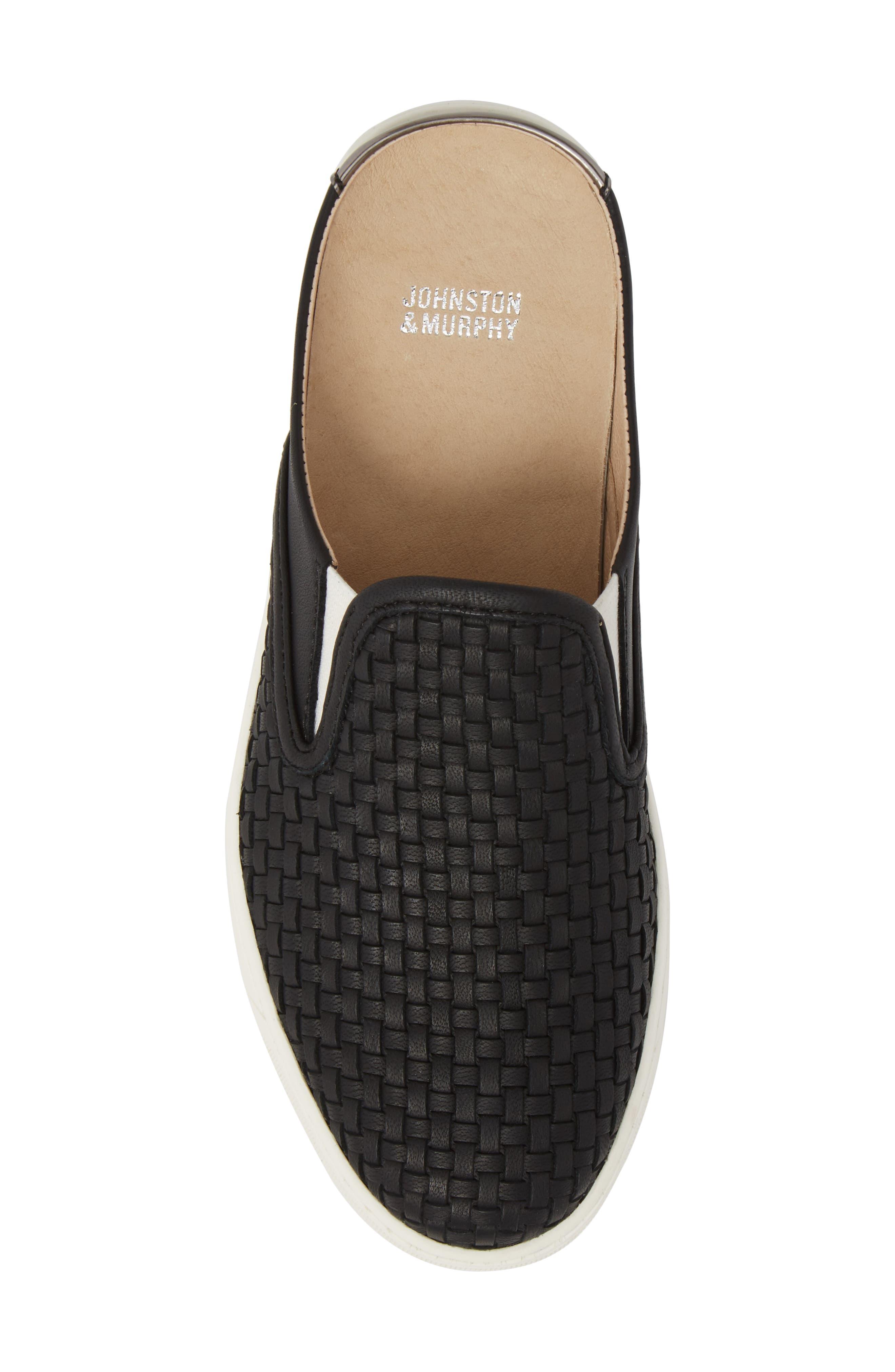 JOHNSTON & MURPHY, Evie Slip-On Sneaker, Alternate thumbnail 5, color, BLACK LEATHER