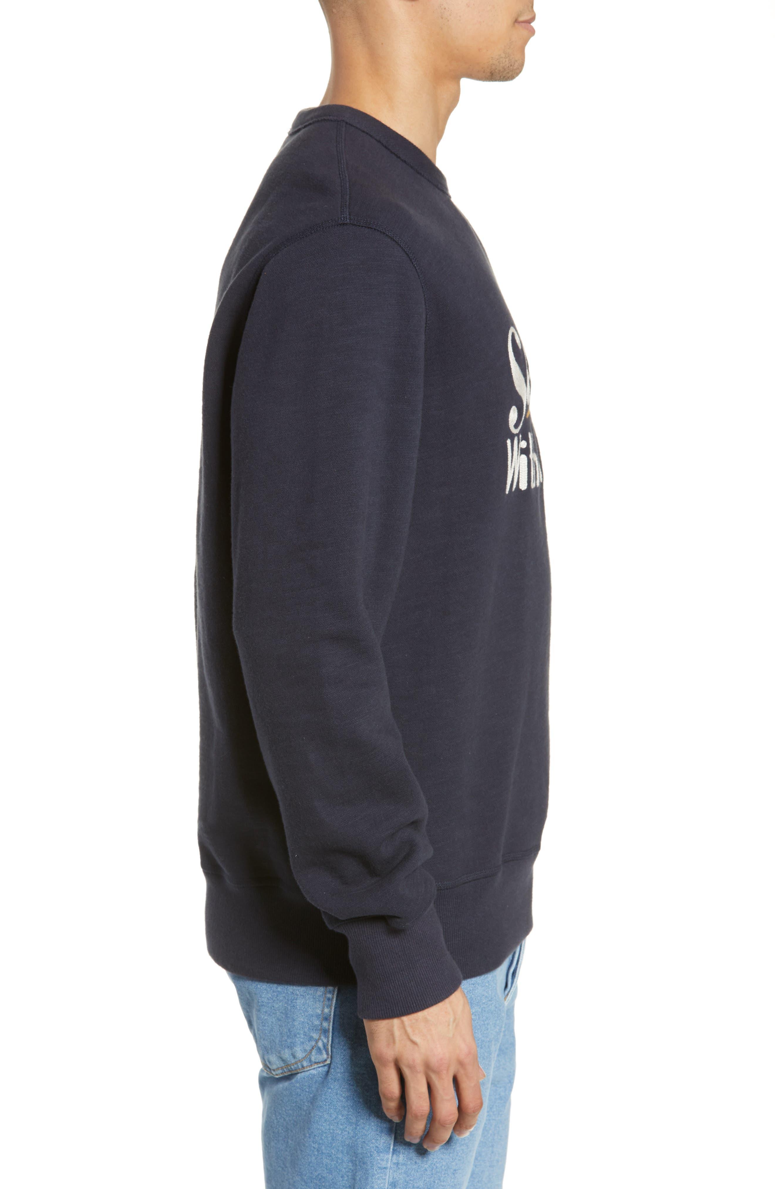RAG & BONE, Graphic Embroidered Sweatshirt, Alternate thumbnail 3, color, NAVY