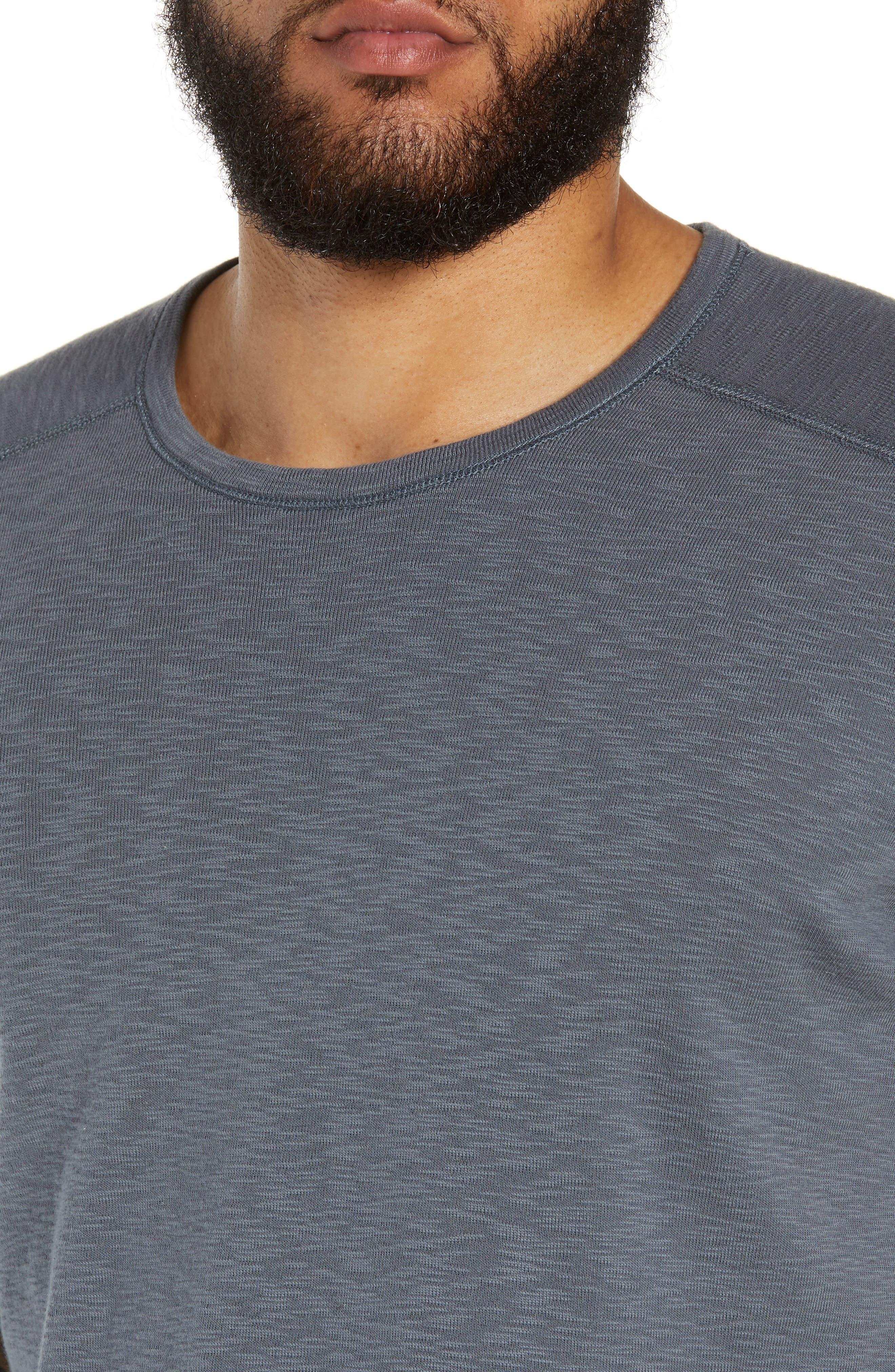 WINGS + HORNS, Ribbed Slub Cotton T-Shirt, Alternate thumbnail 4, color, SHADOW