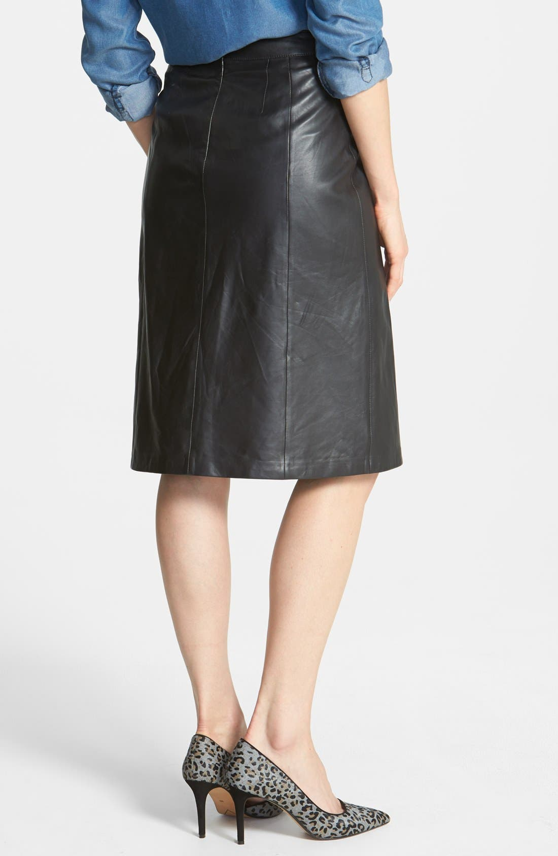 HALOGEN<SUP>®</SUP>, Pleat Leather Skirt, Alternate thumbnail 2, color, 001