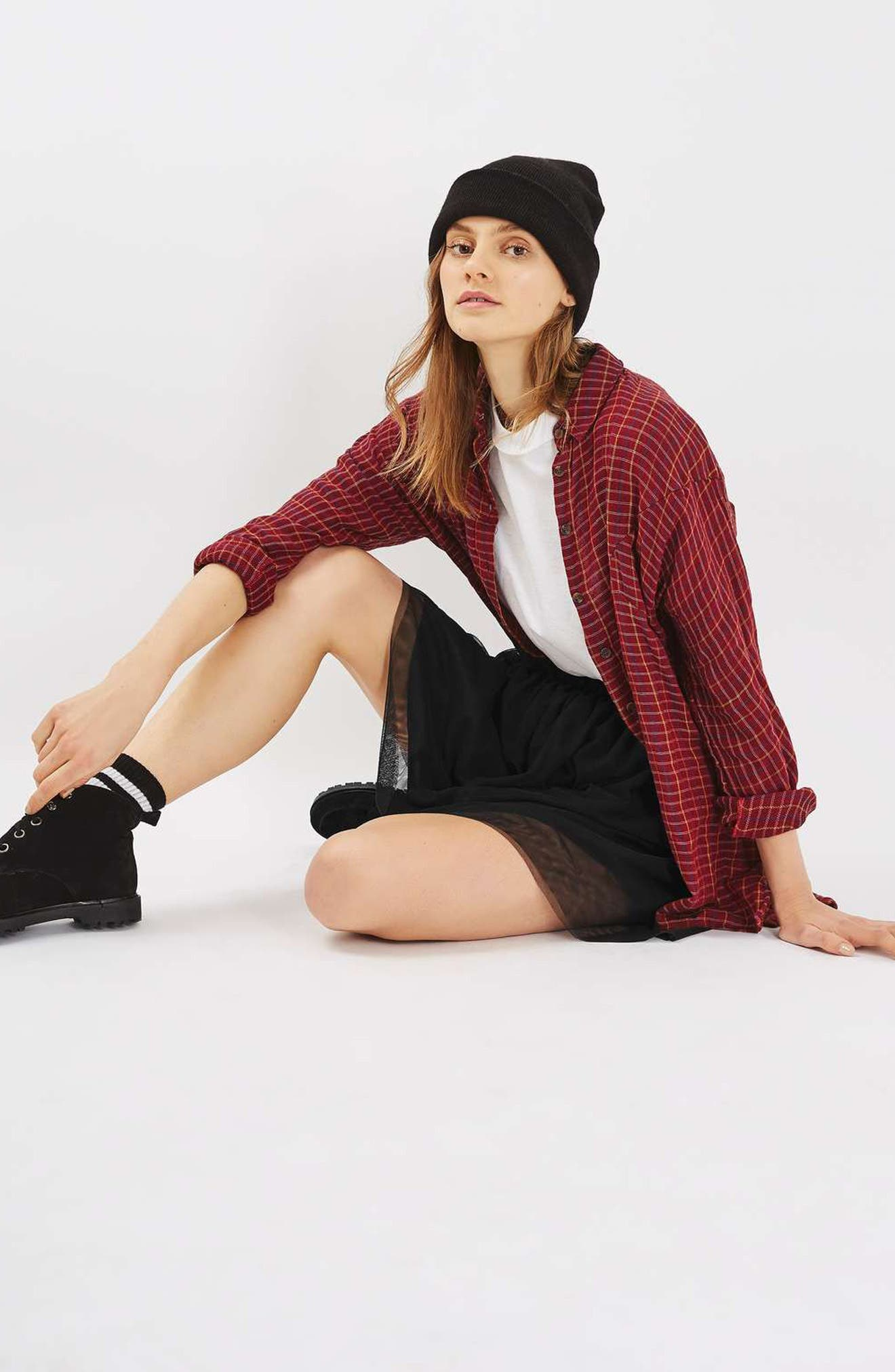 TOPSHOP, Tulle Miniskirt, Alternate thumbnail 4, color, 001